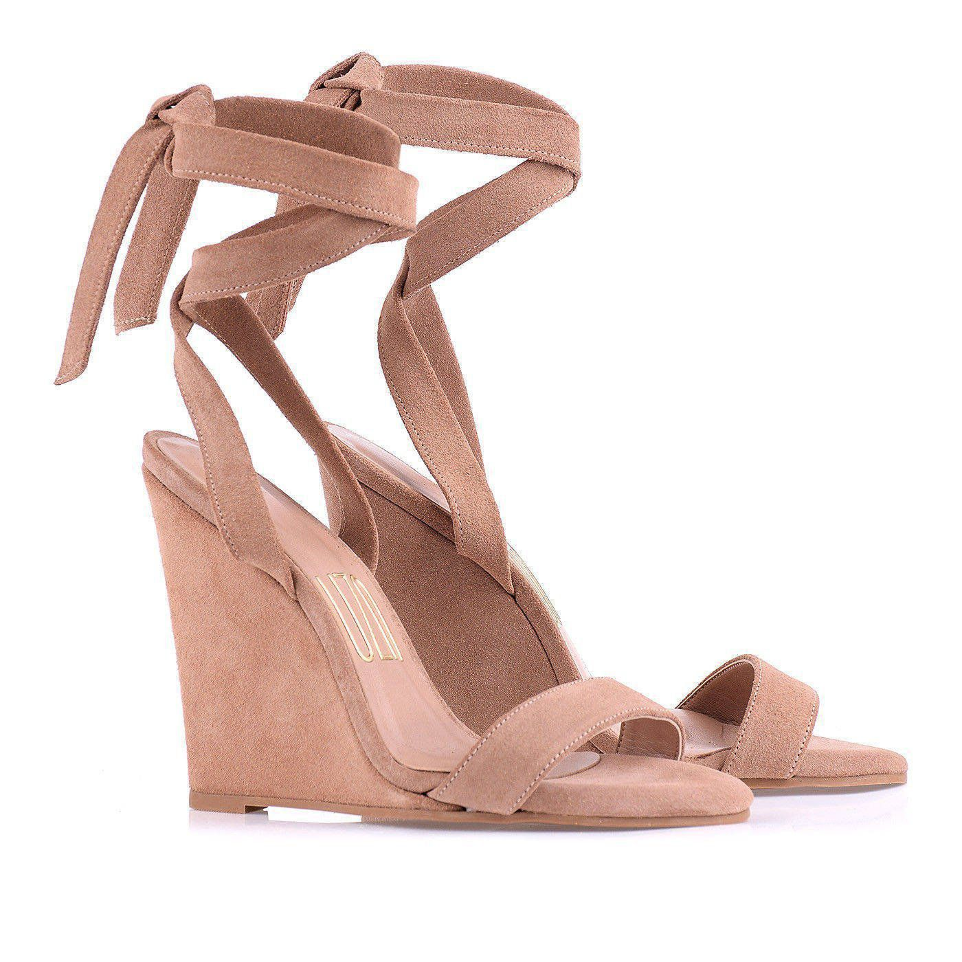 Anabela Alta New Suede Nude
