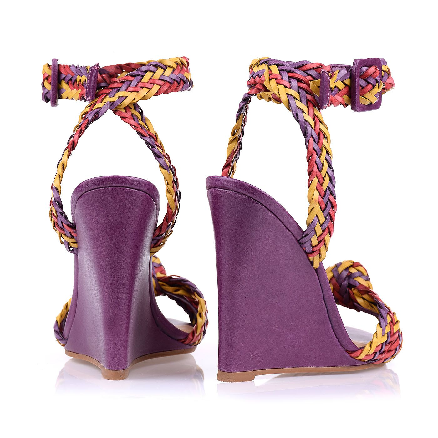 Anabela Salto Alto Trança Duo 2/Grape/Red/Mustard