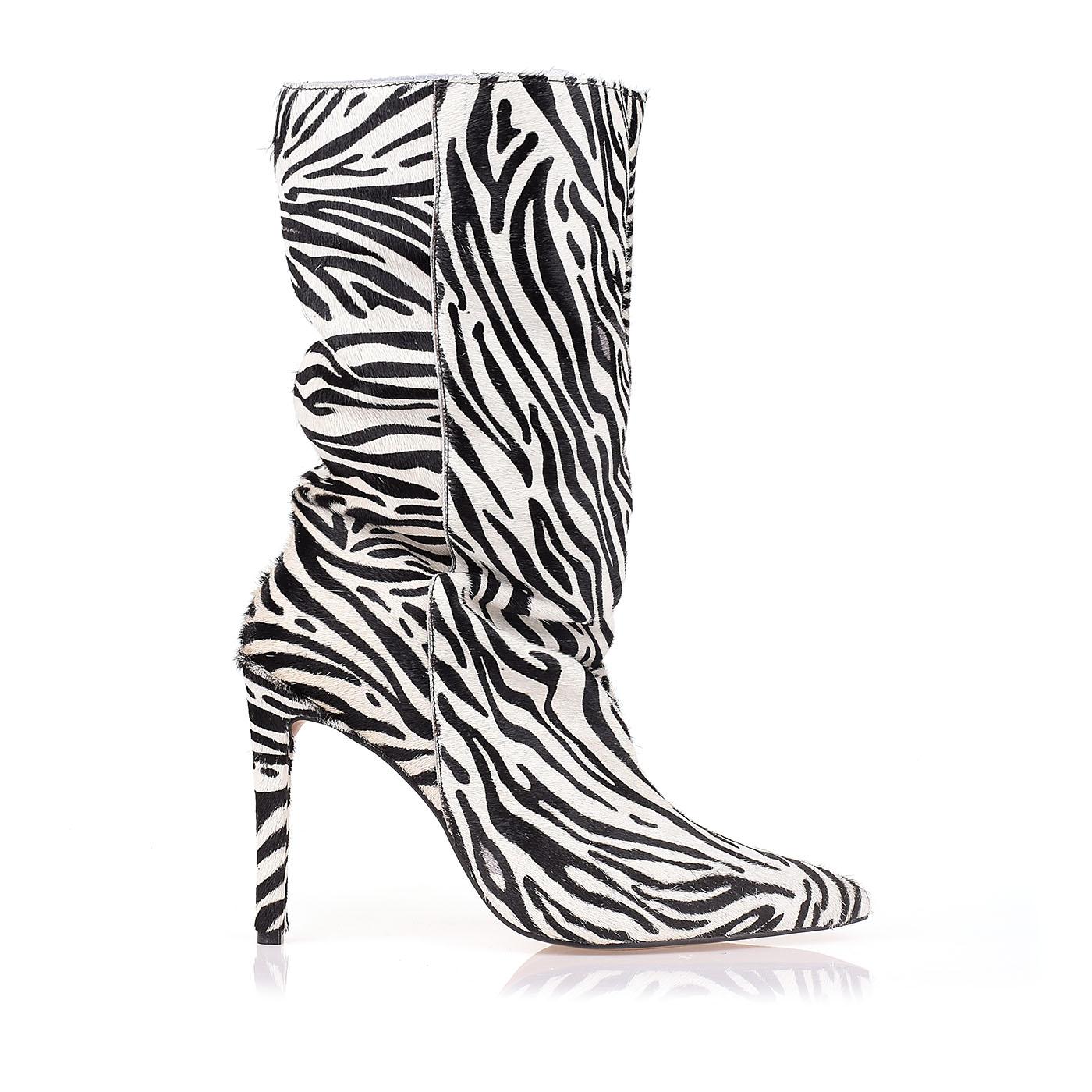 Bota Salto Alto Fur Zebra