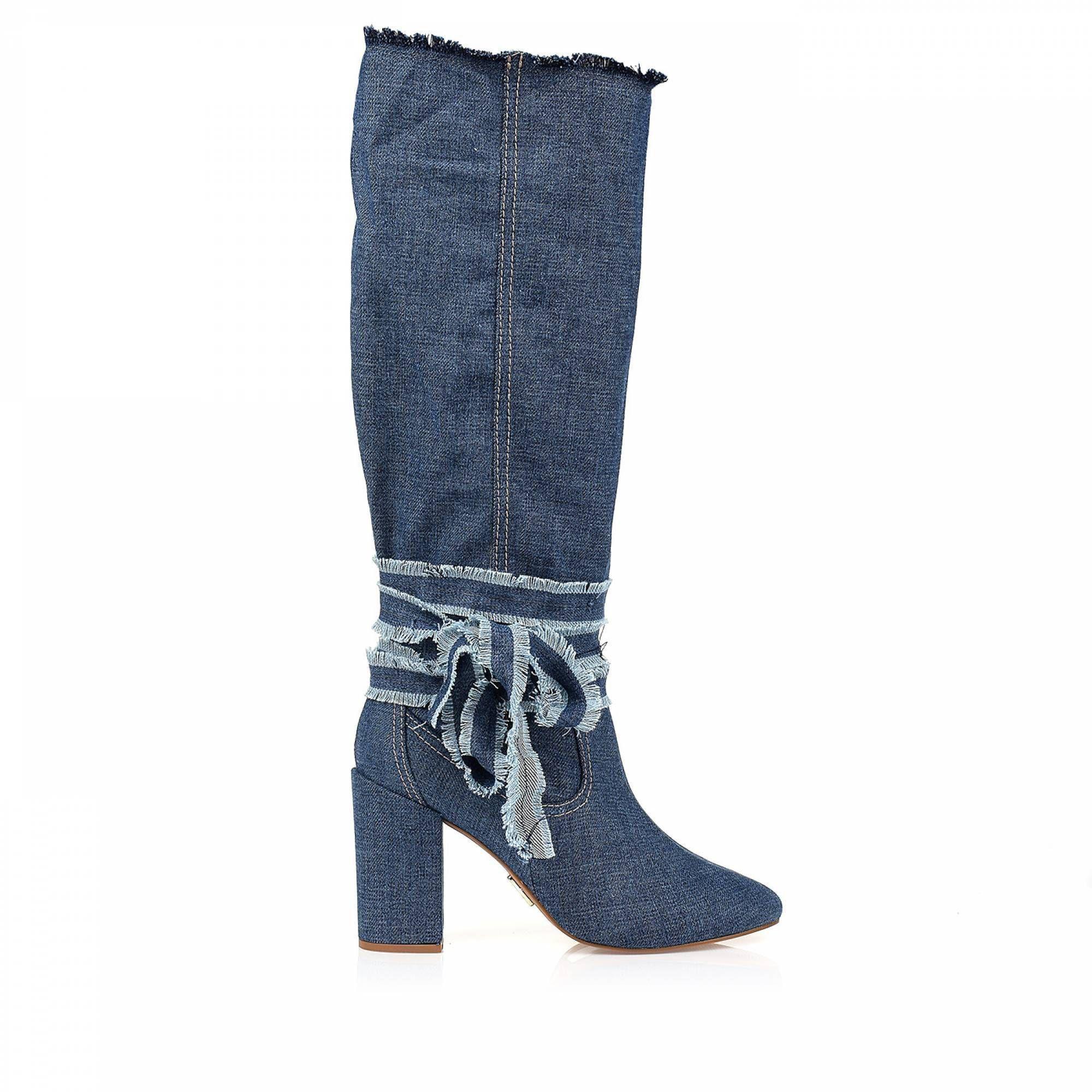 Bota Salto Médio Jeans Jeans