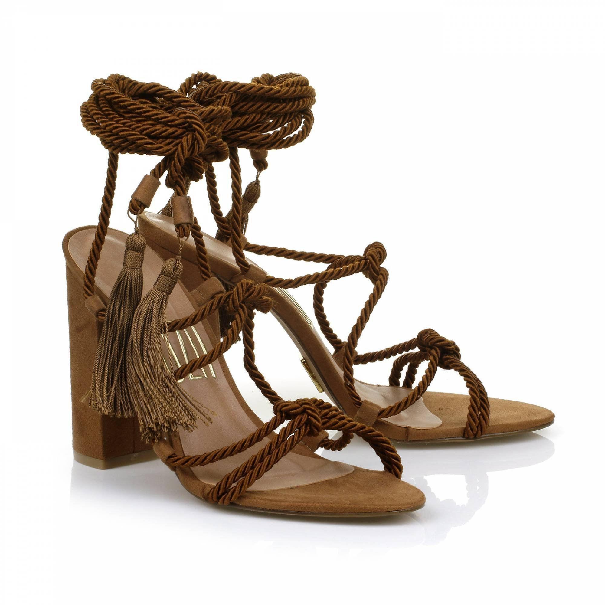 Gladiadora Salto Alto Cord. Camel