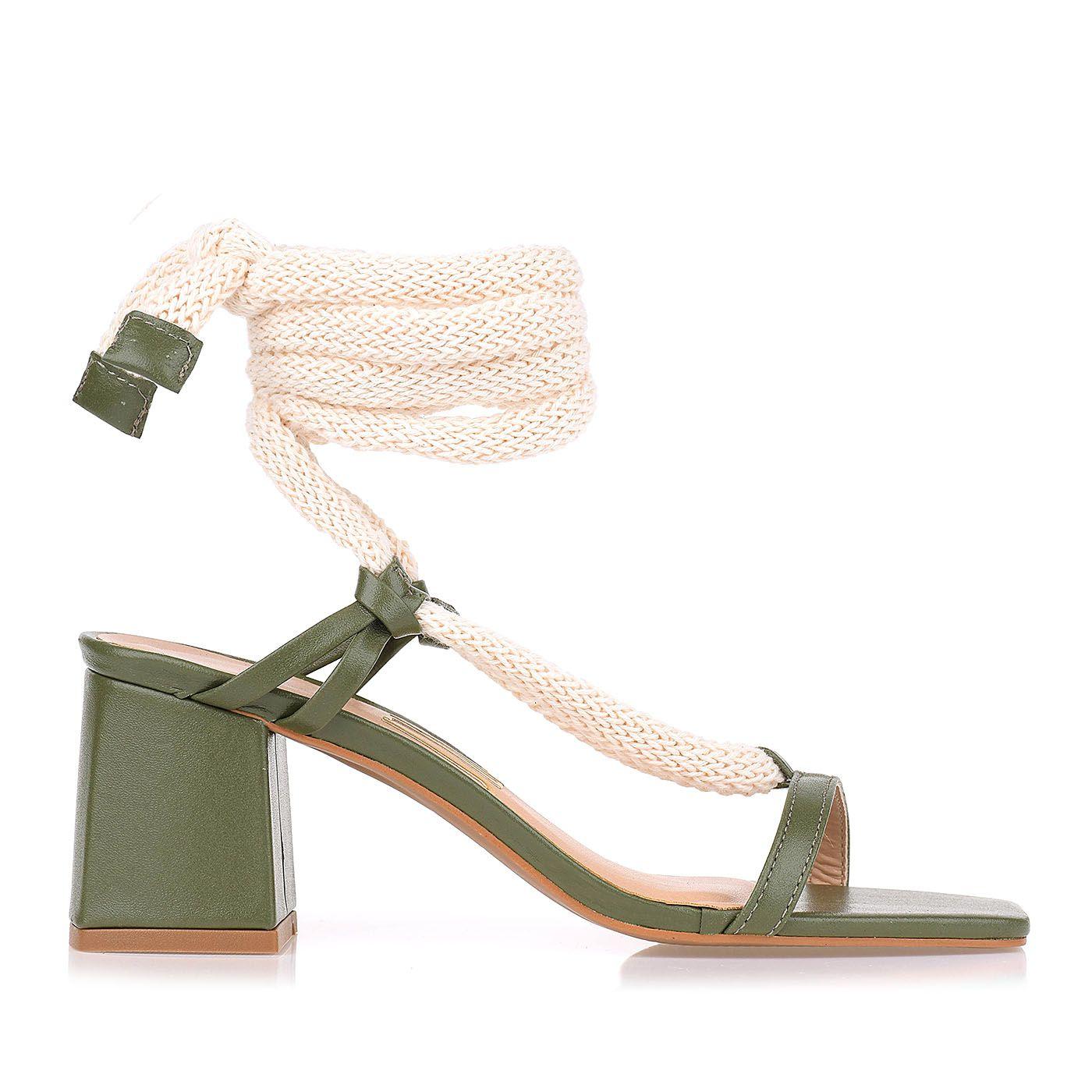 Sandália Salto Bloco Natural Rope