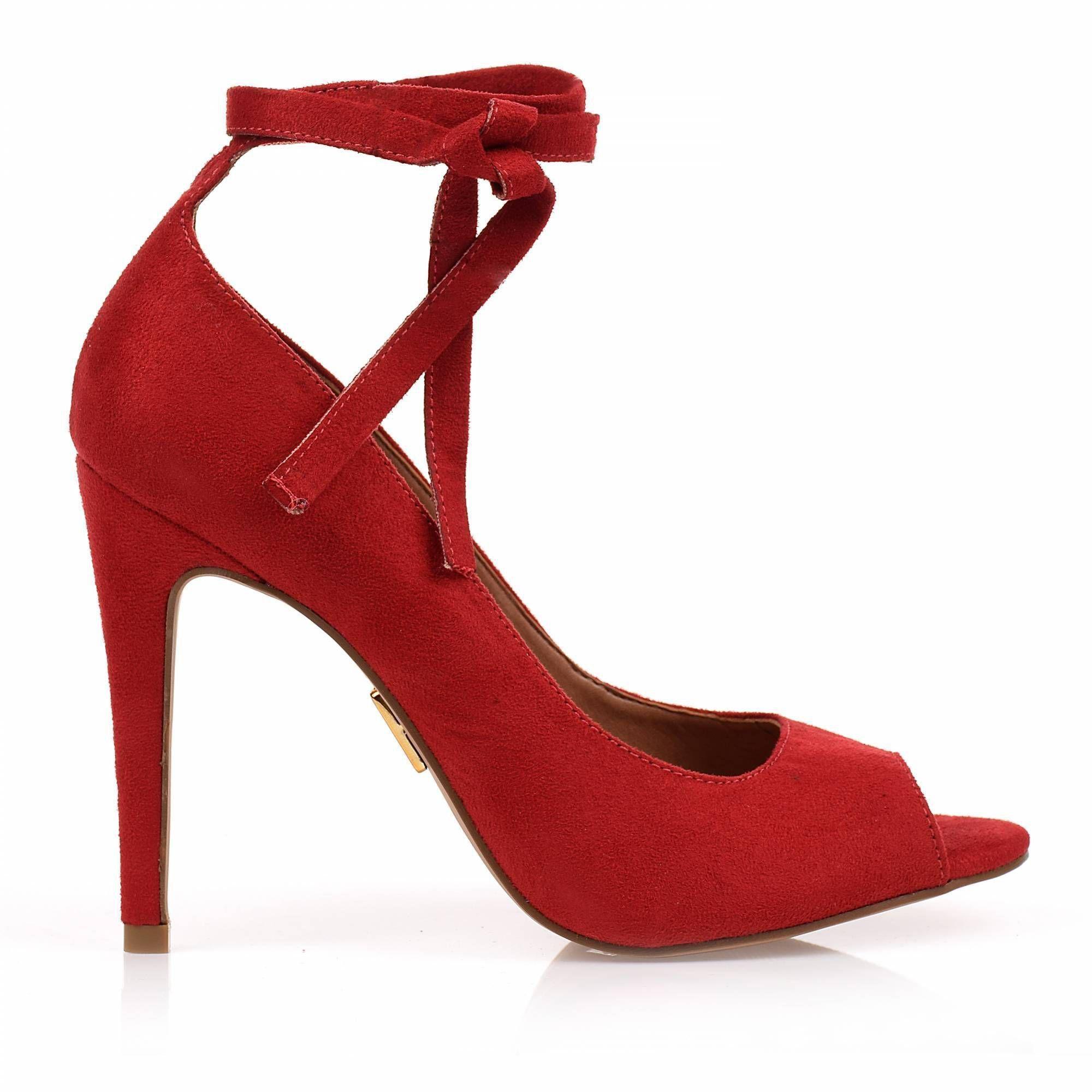 Peep Toe Salto Alto Camurça Scarlet