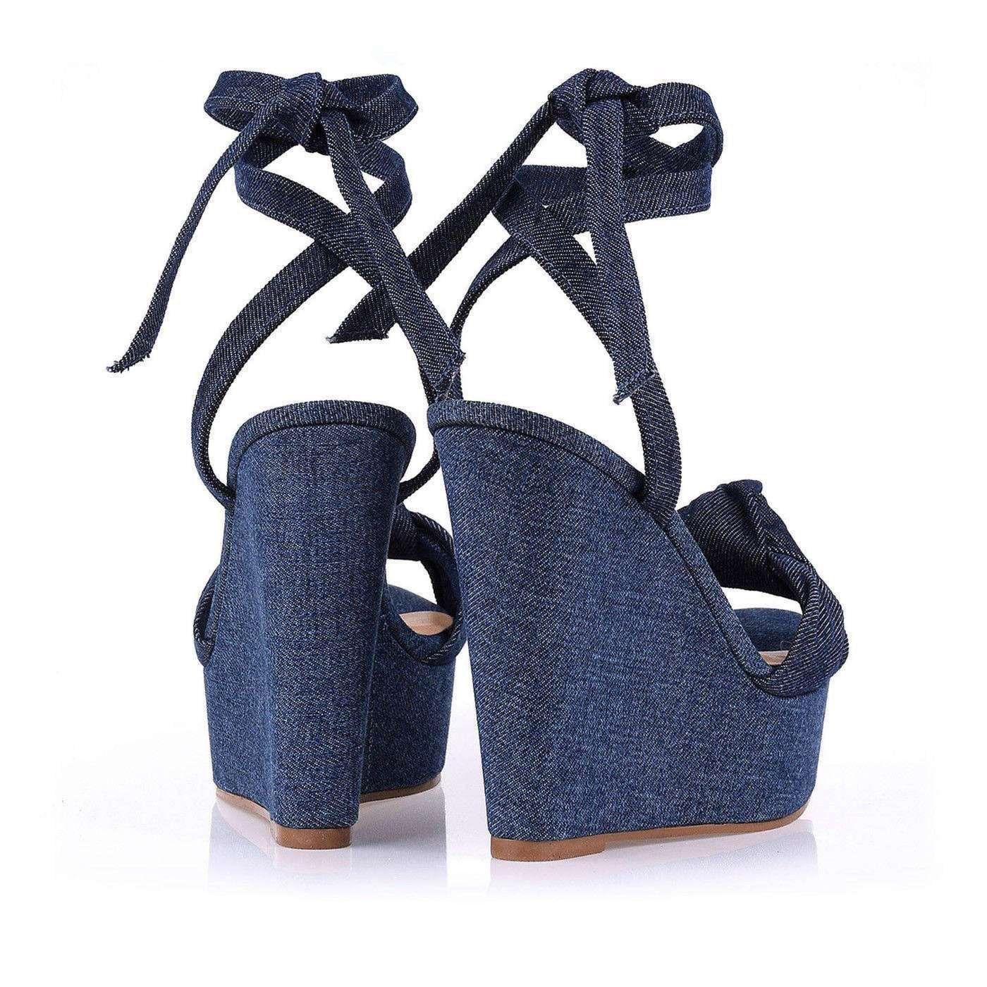 Sandália Plataforma Salto Alto Jeans Blue