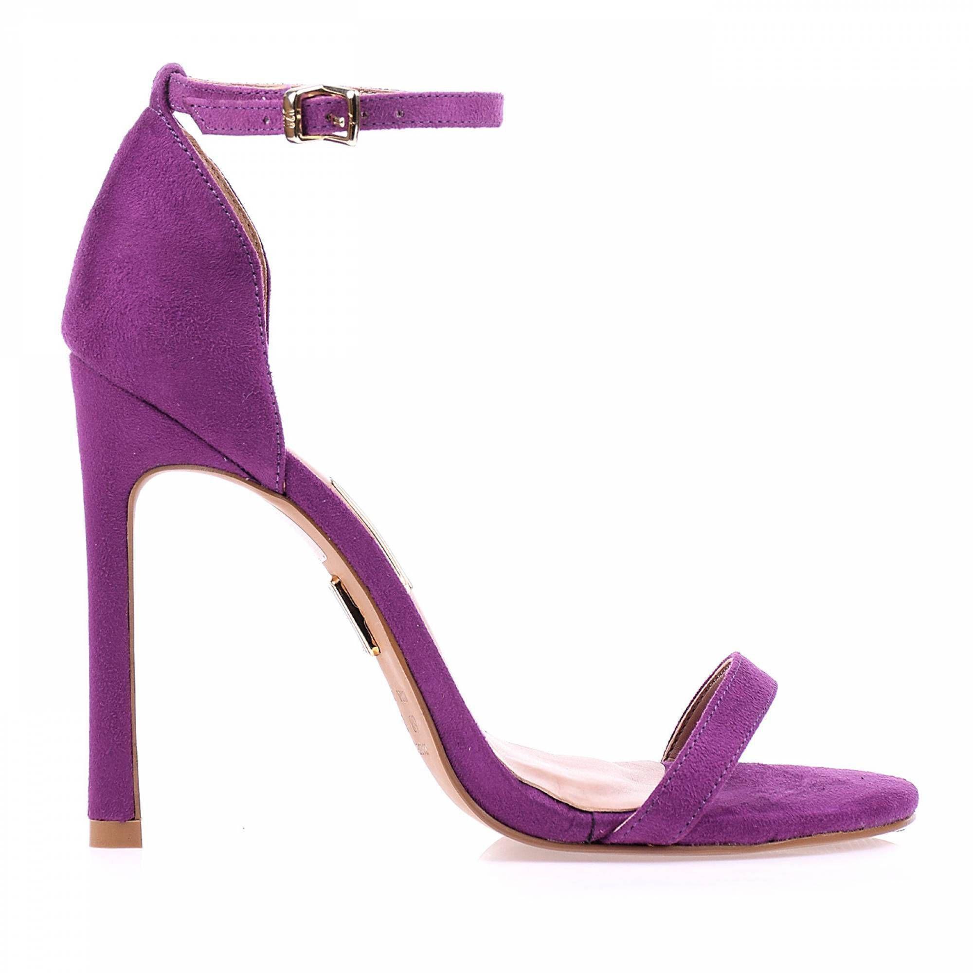 Sandália Salto Alto Camurça Grape