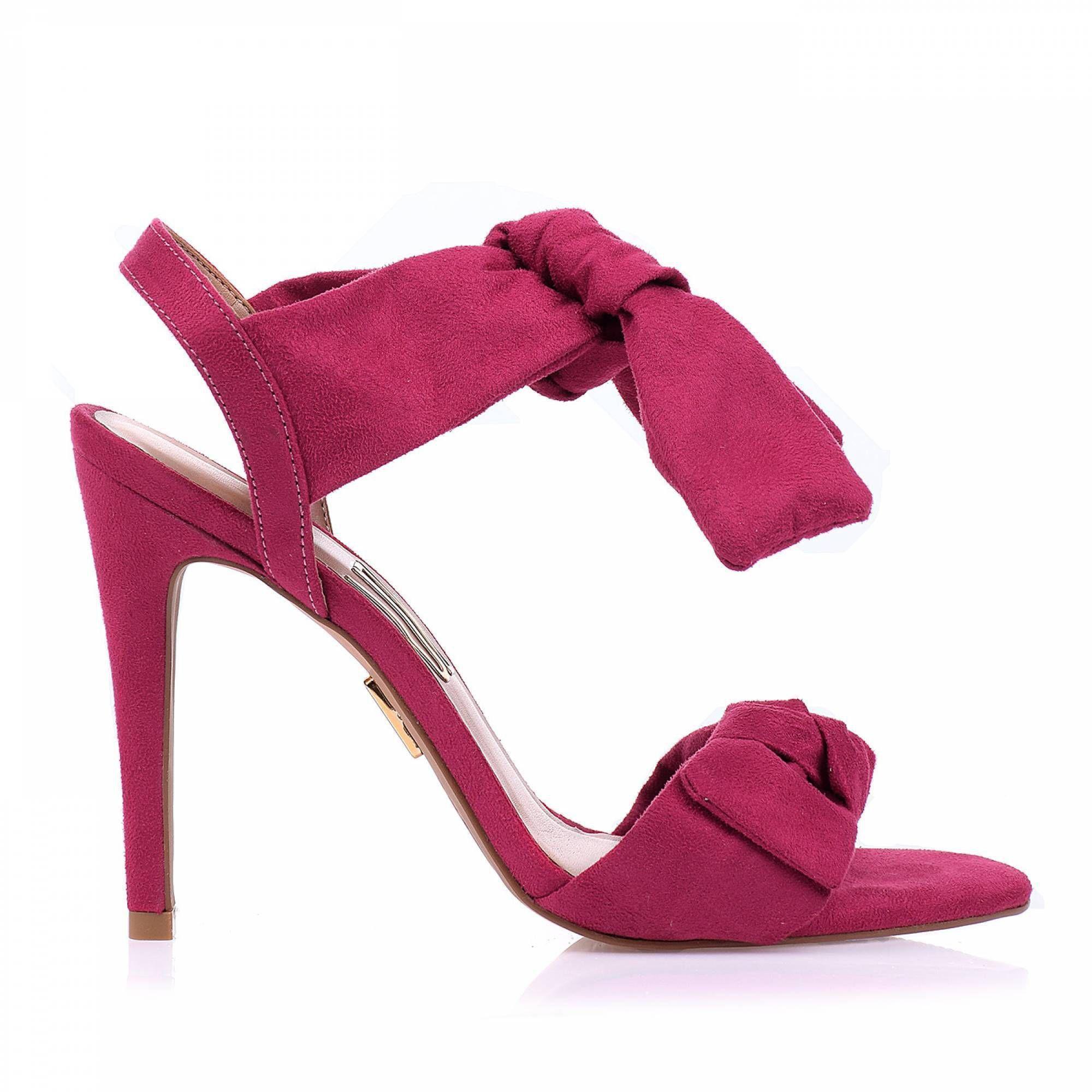 Sandália Salto Alto Camurça Pink