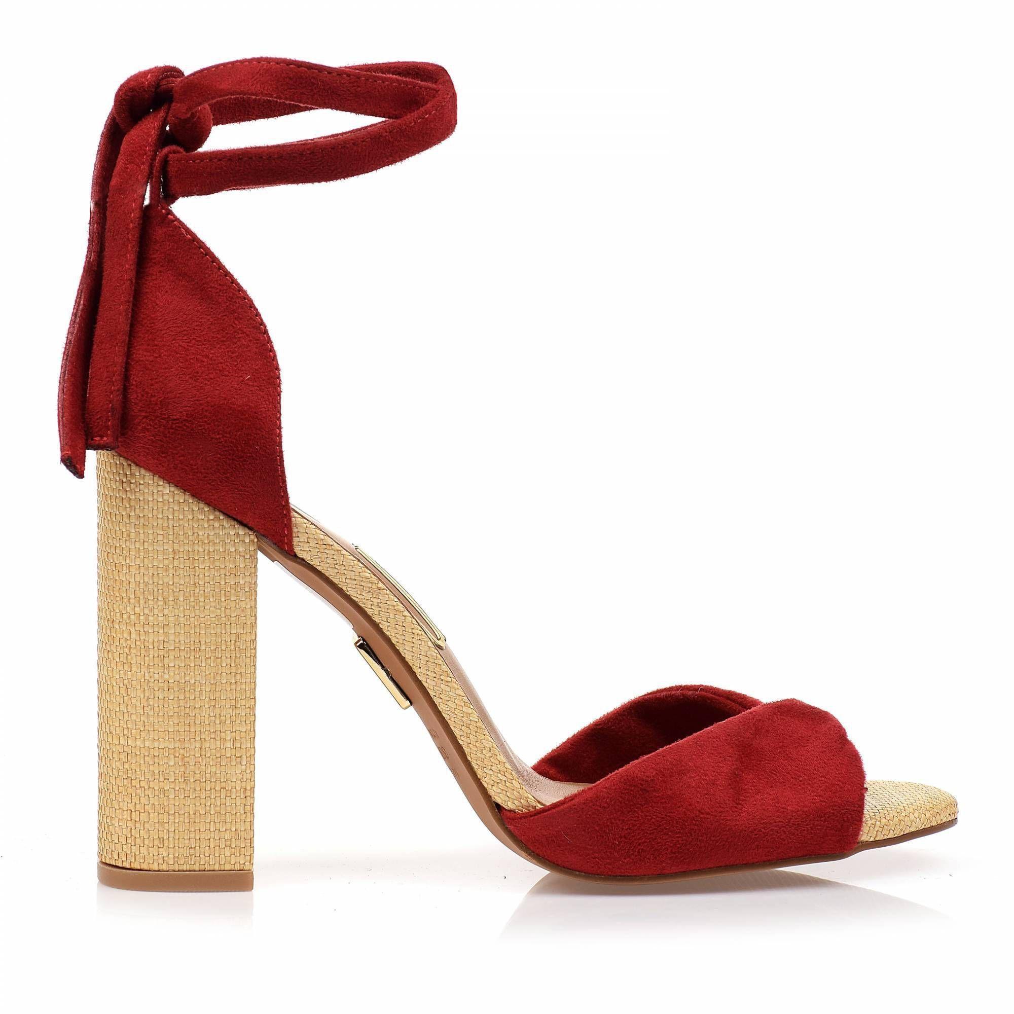 Sandália Salto Alto Camurça Red