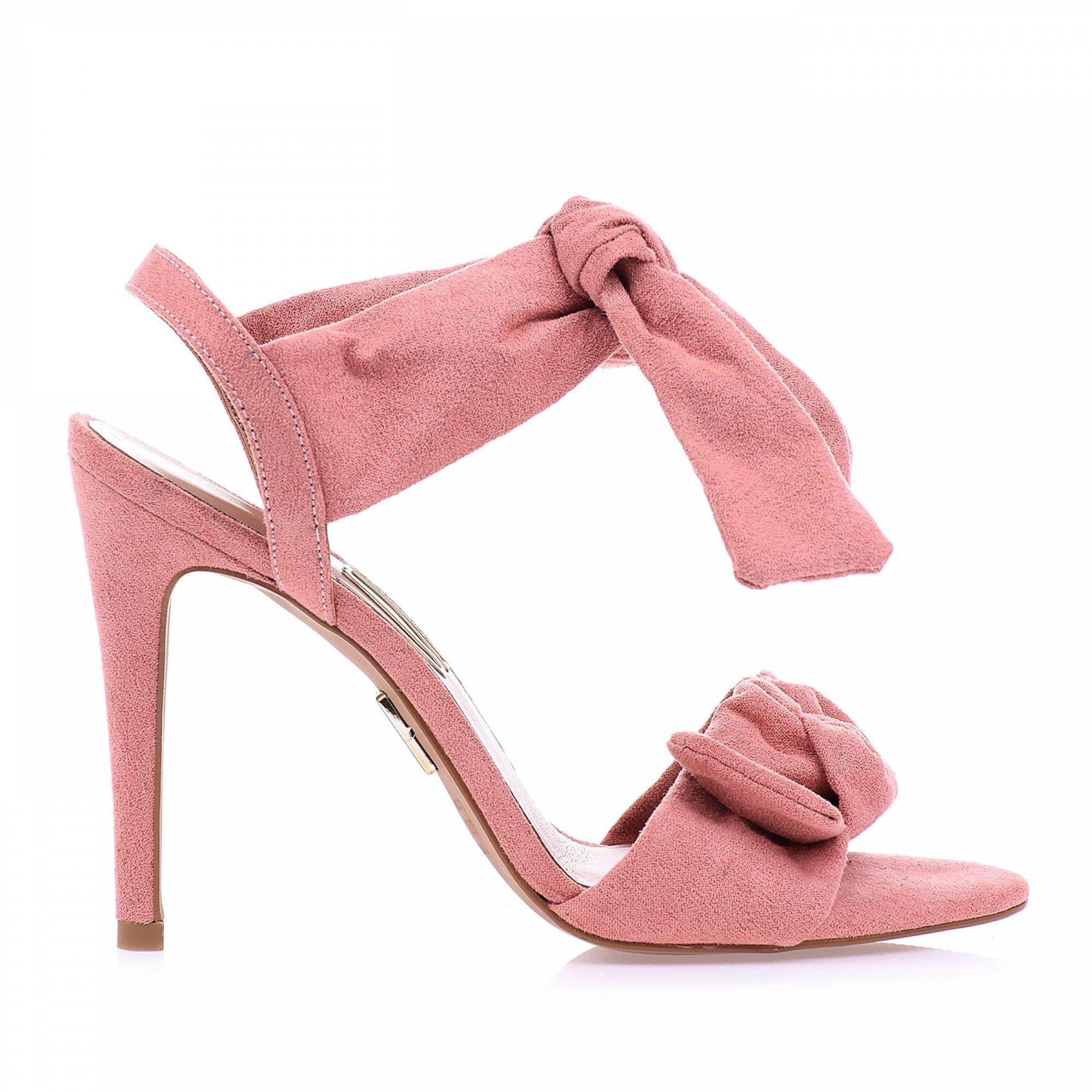 Sandália Salto Alto Camurça Rose