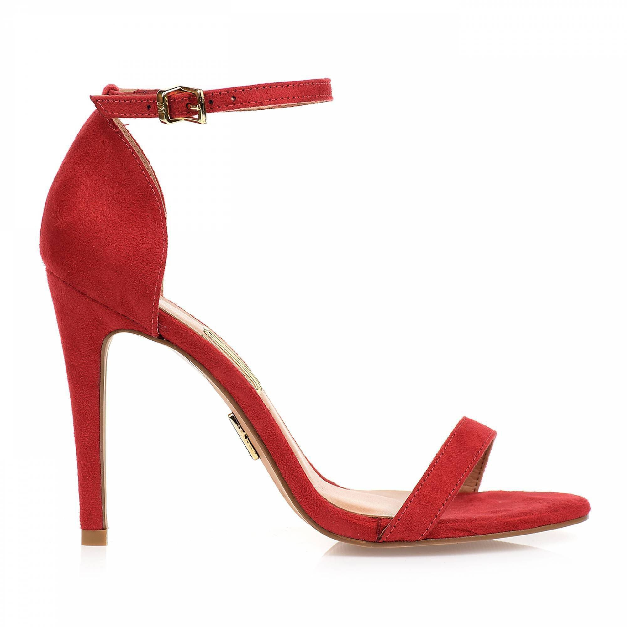 Sandália Salto Alto Camurça Scarlet