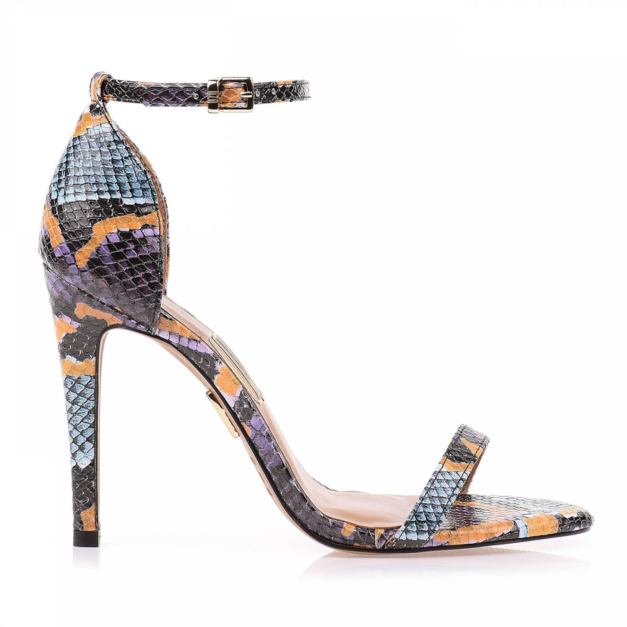 Sandália Salto Alto Color Python Turquesa