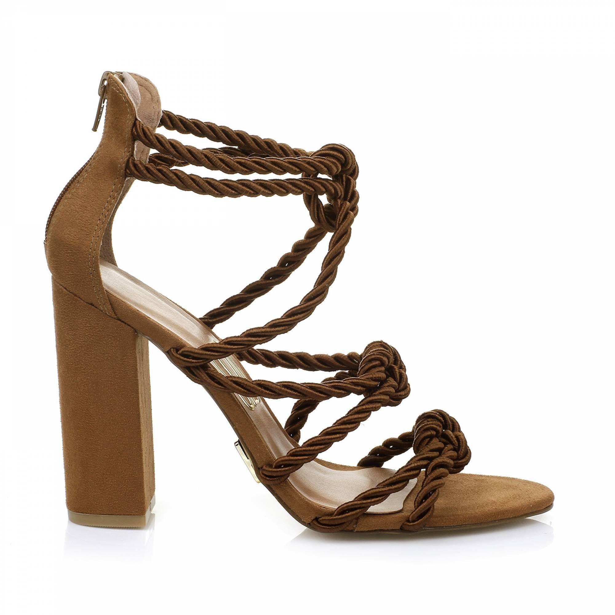 Sandália Salto Alto Cord. Camel