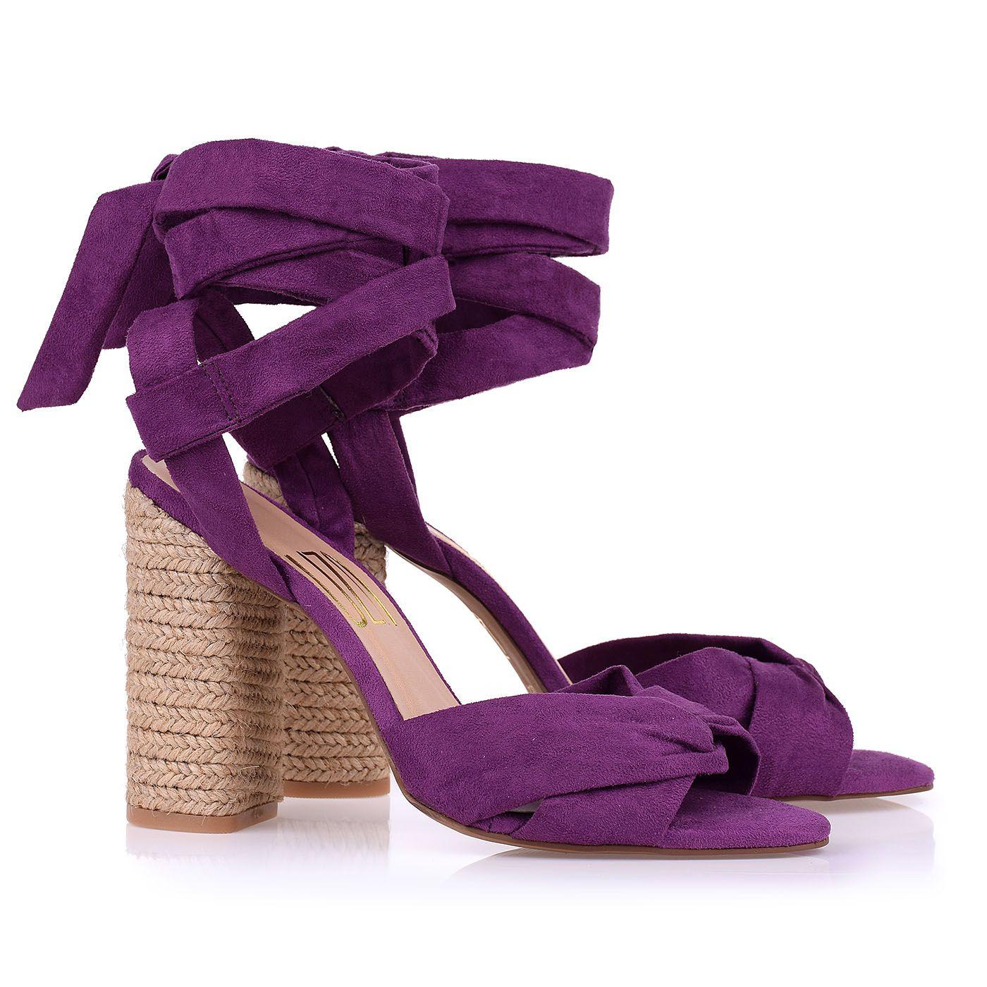 Sandália Salto Alto Corda Camurça Grape