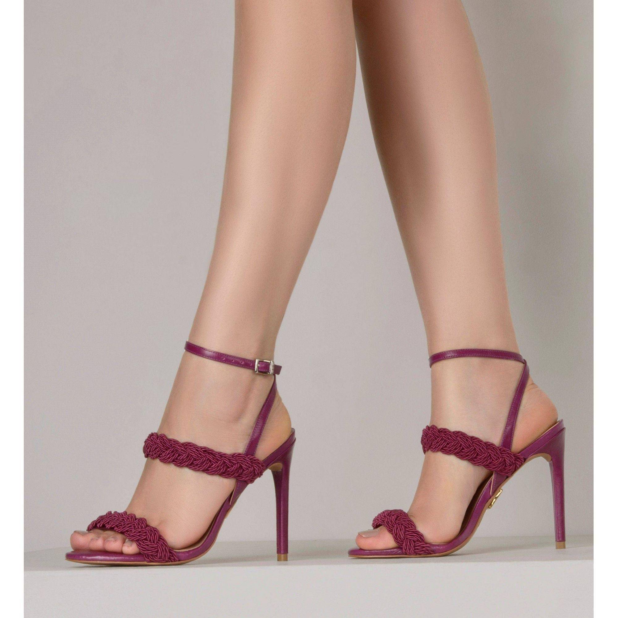 Sandália Salto Alto Cordão Berry
