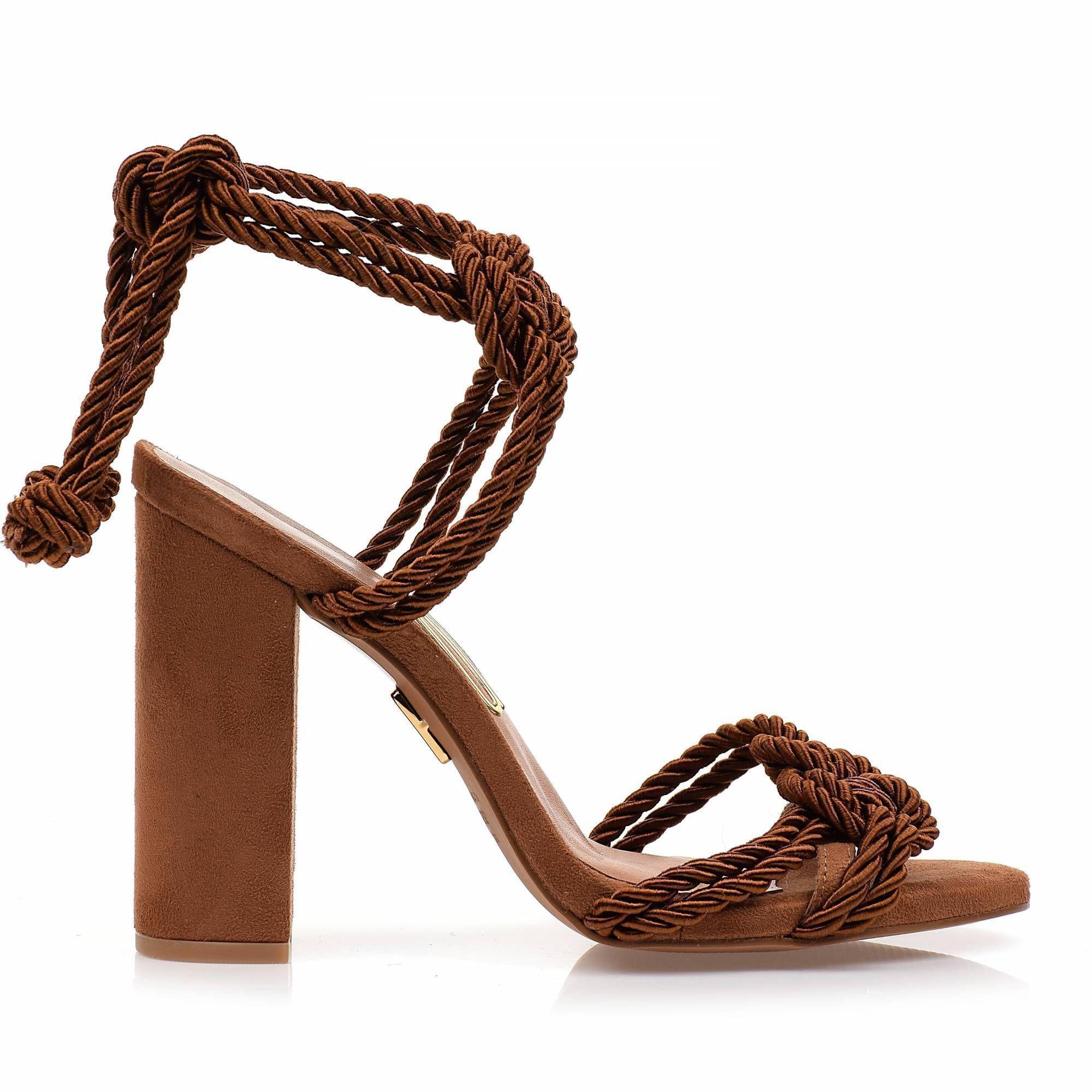 Sandália Salto Alto Cordão Camel