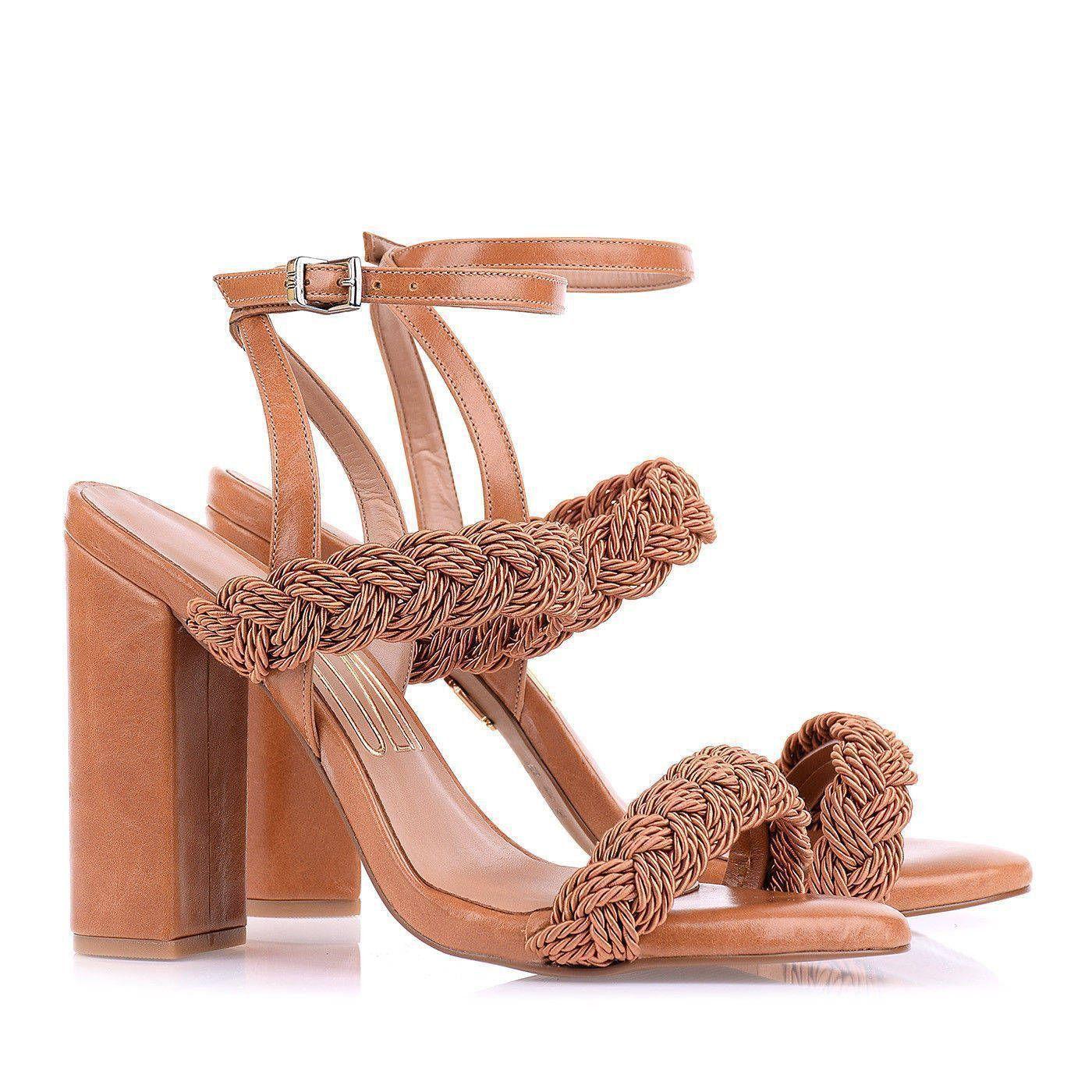 Sandália Salto Alto Cordão Carameloo