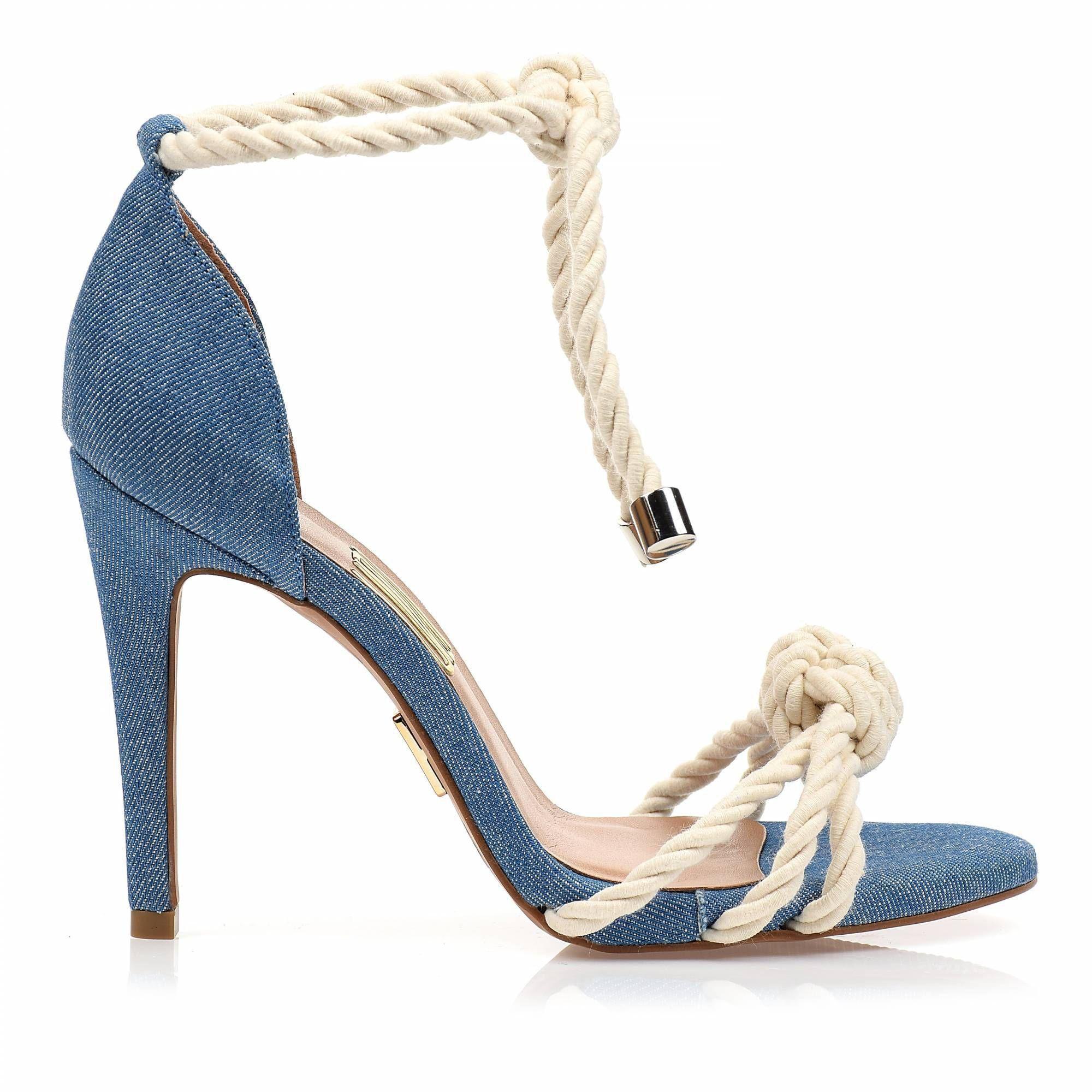 Sandália Salto Alto Cordão Jeans