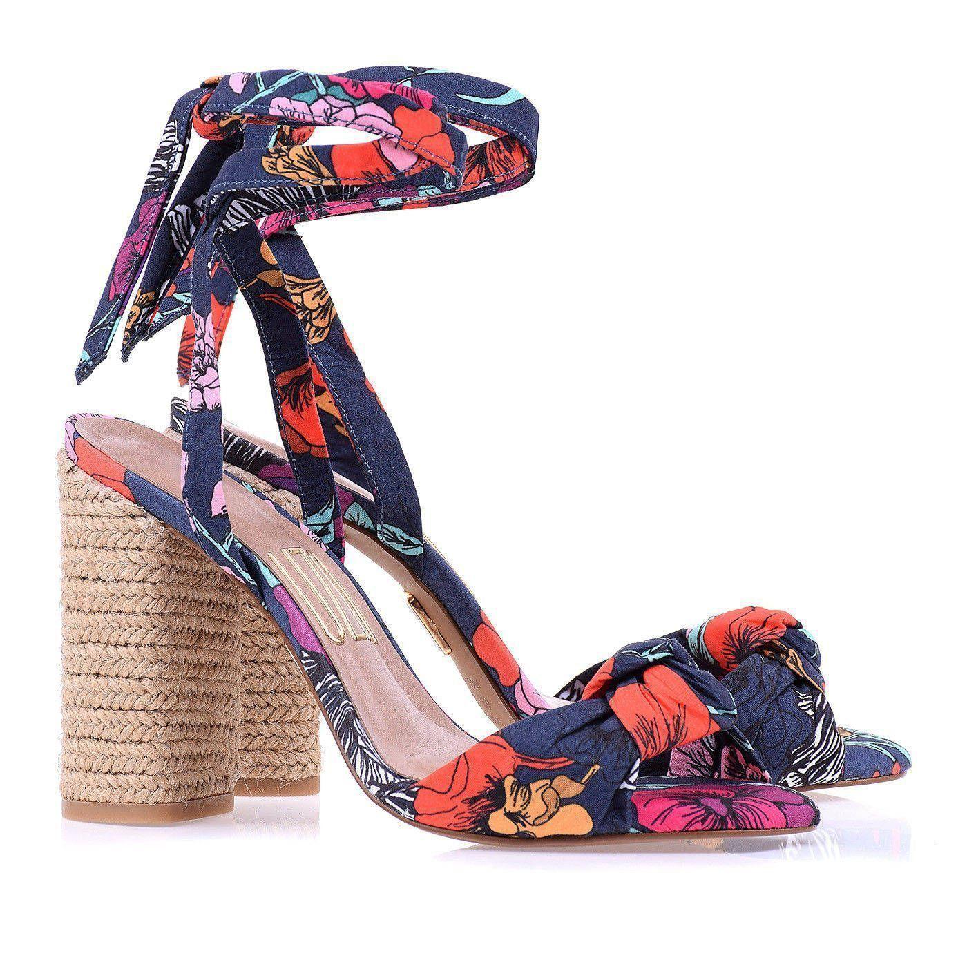 Sandália Salto Alto Fashion Garden Marinho