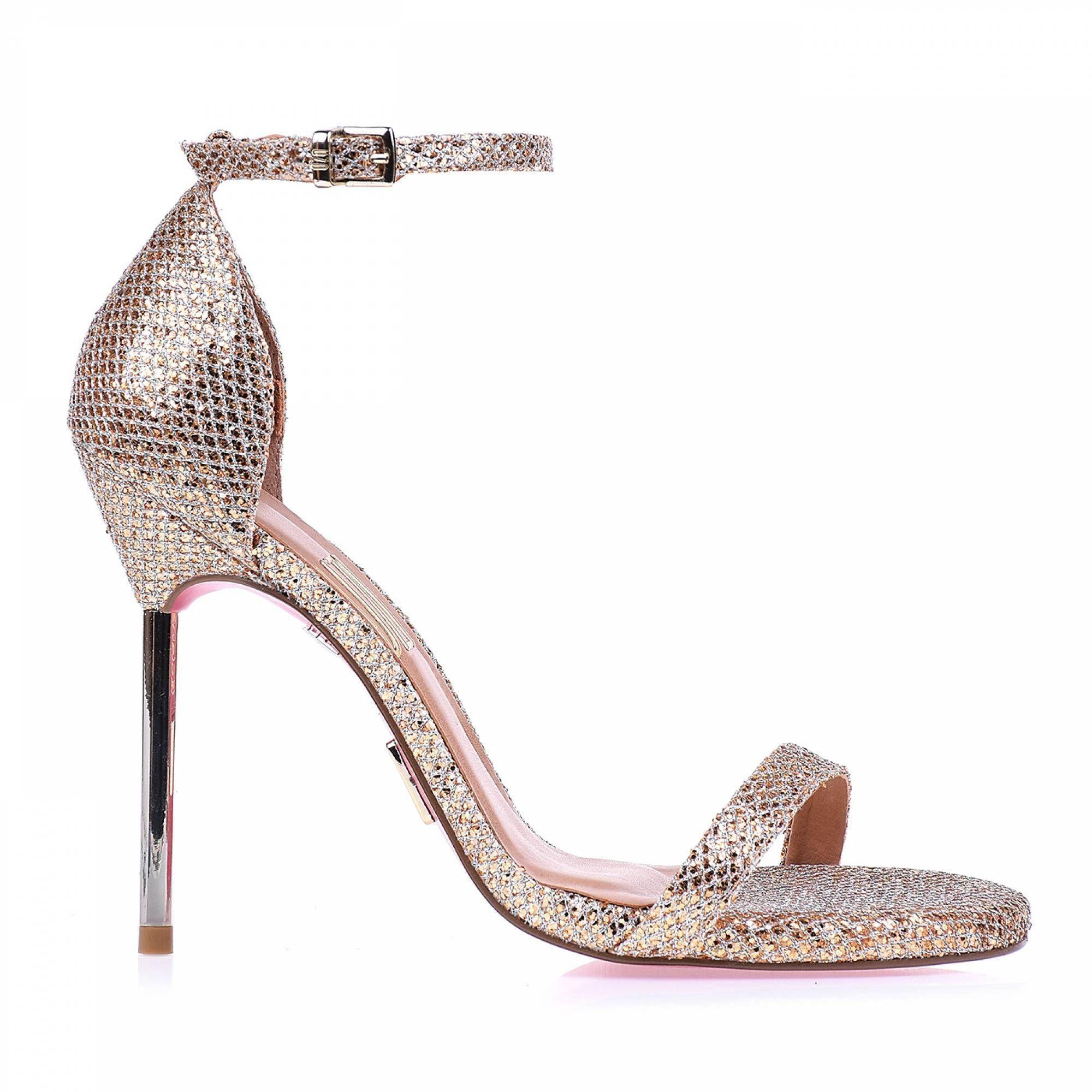 Sandália Salto Alto Glamour Ouro