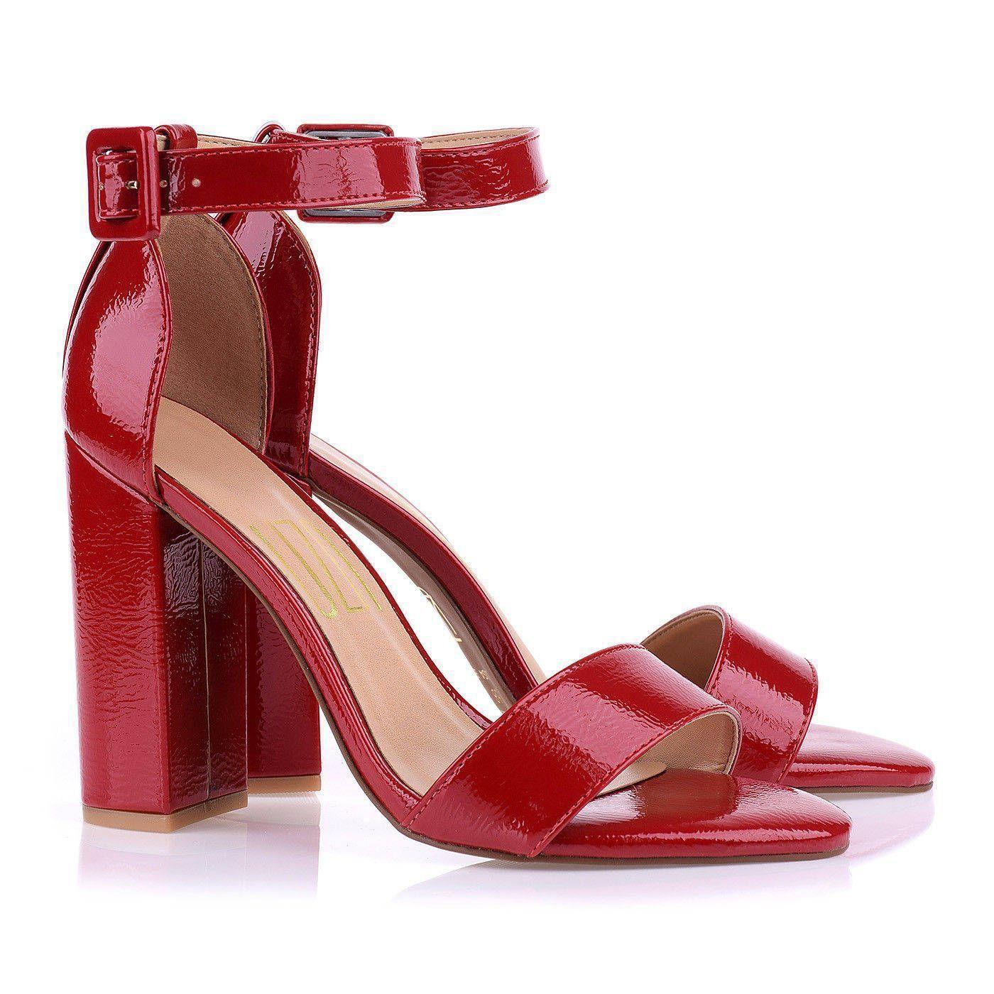 Sandália Salto Alto Grosso Verniz Molhado Vermelho
