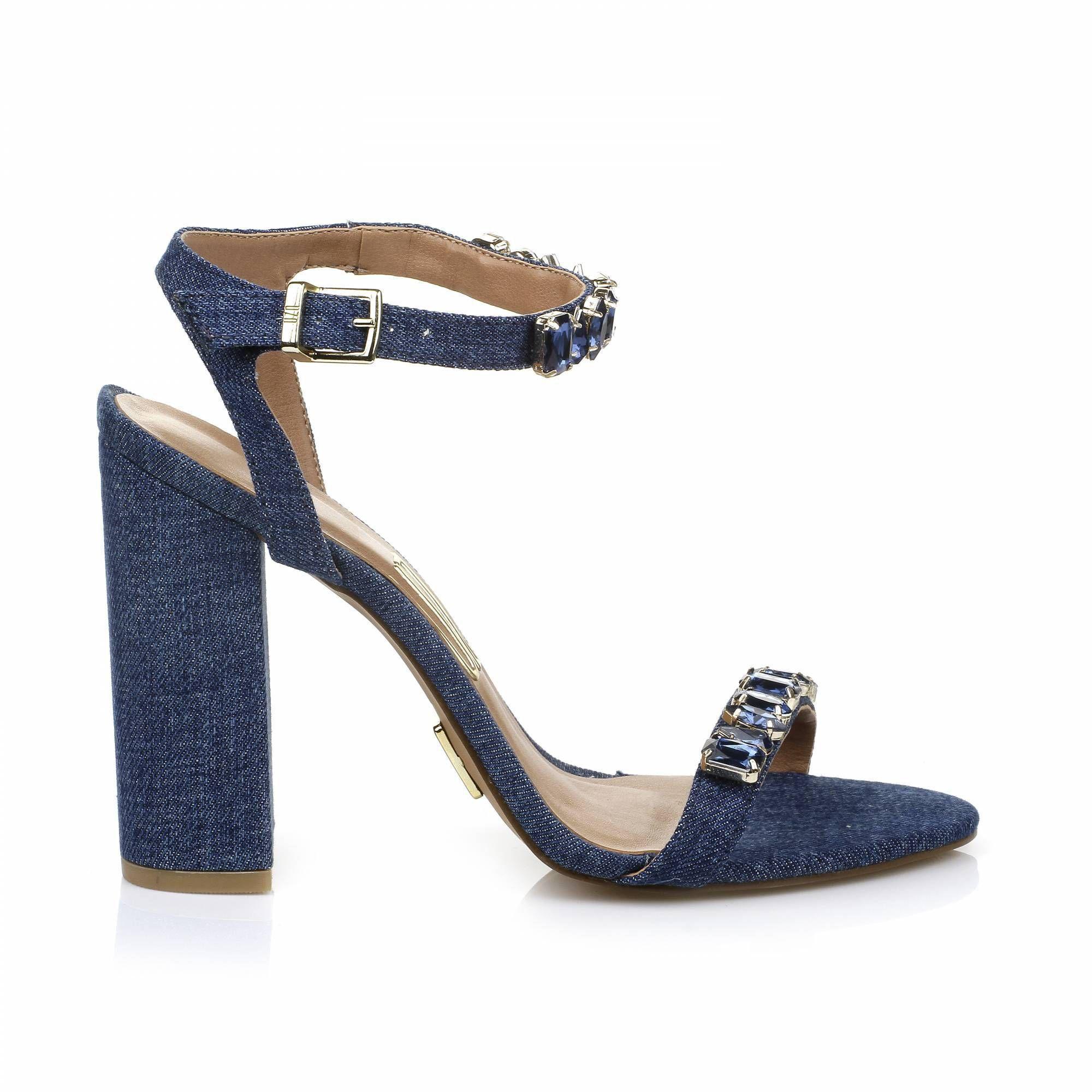 Sandália Salto Alto Jeans Jeans