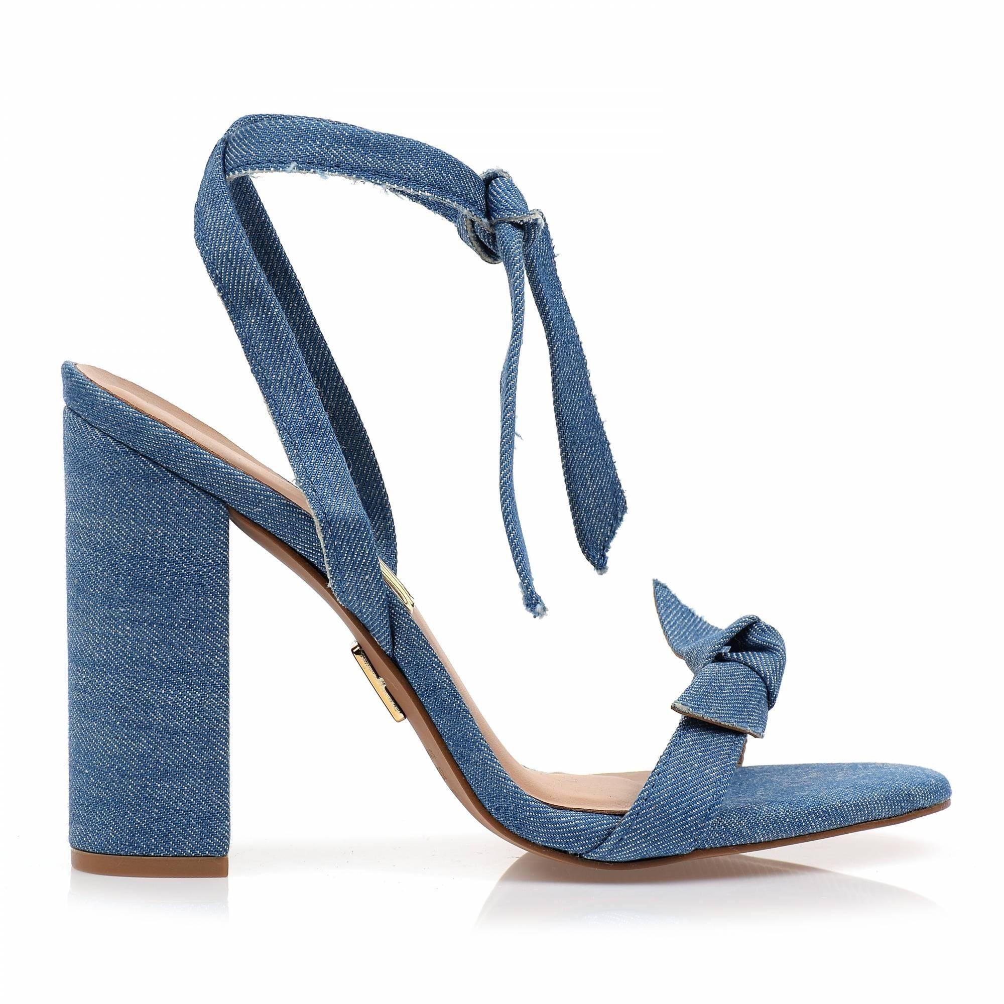 Sandália Salto Alto Jeans Light