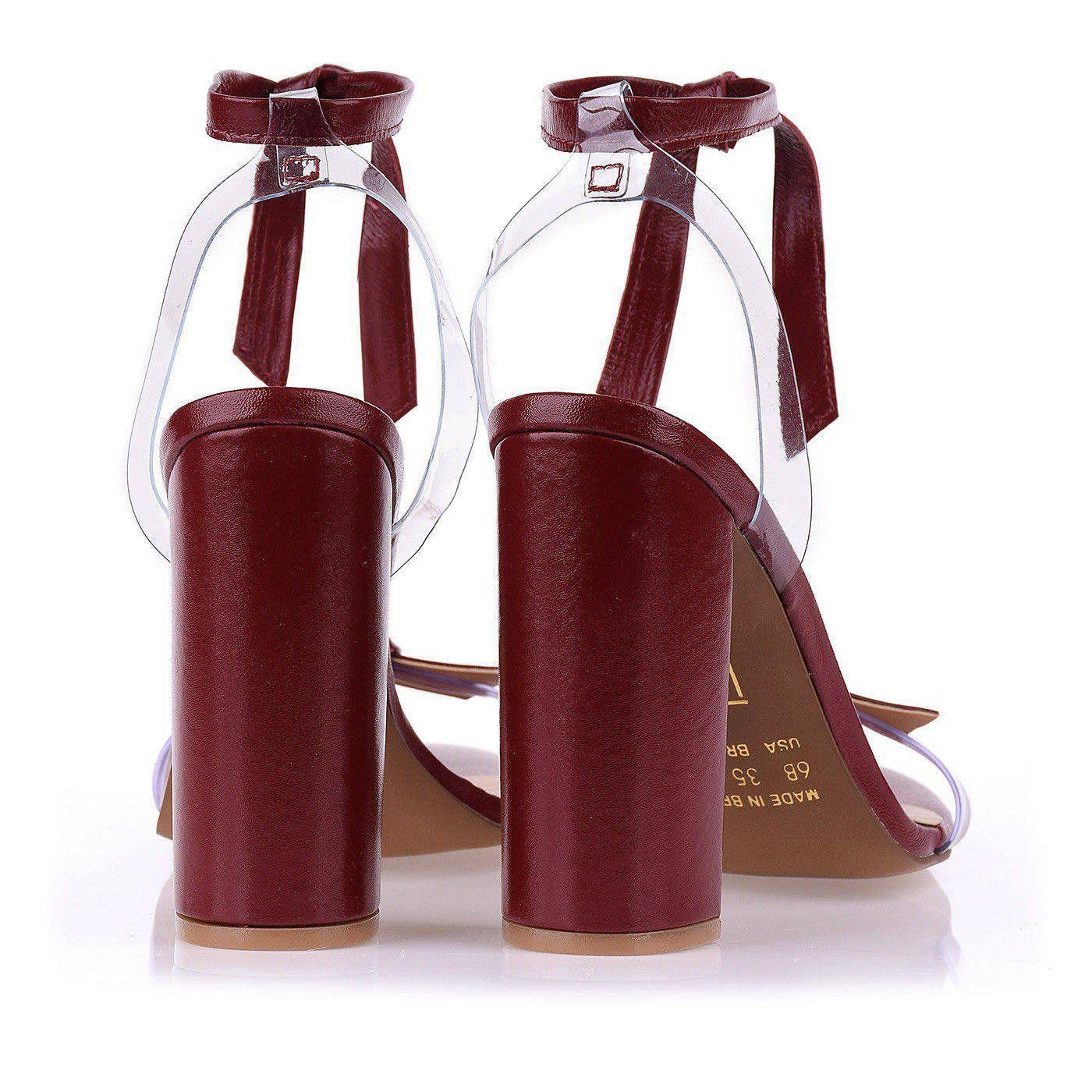 Sandália Salto Alto Lace Up Carmim/Vinil Cristal