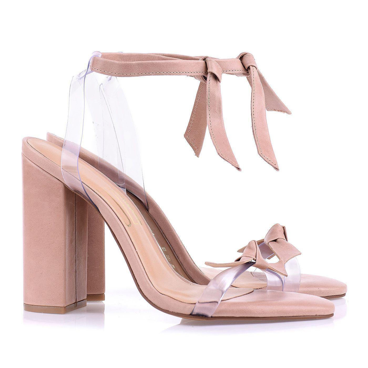 Sandália Salto Alto Lace Up Nude/Vinil Cristal