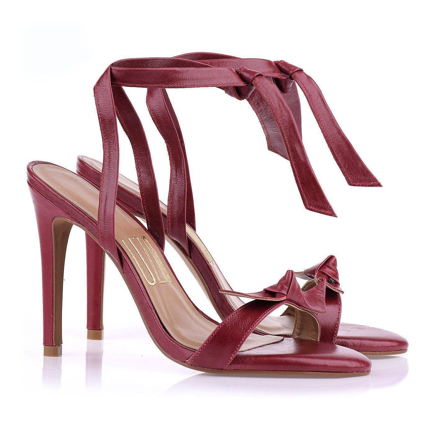 Sandália Salto Alto Lace Up Prada Wine