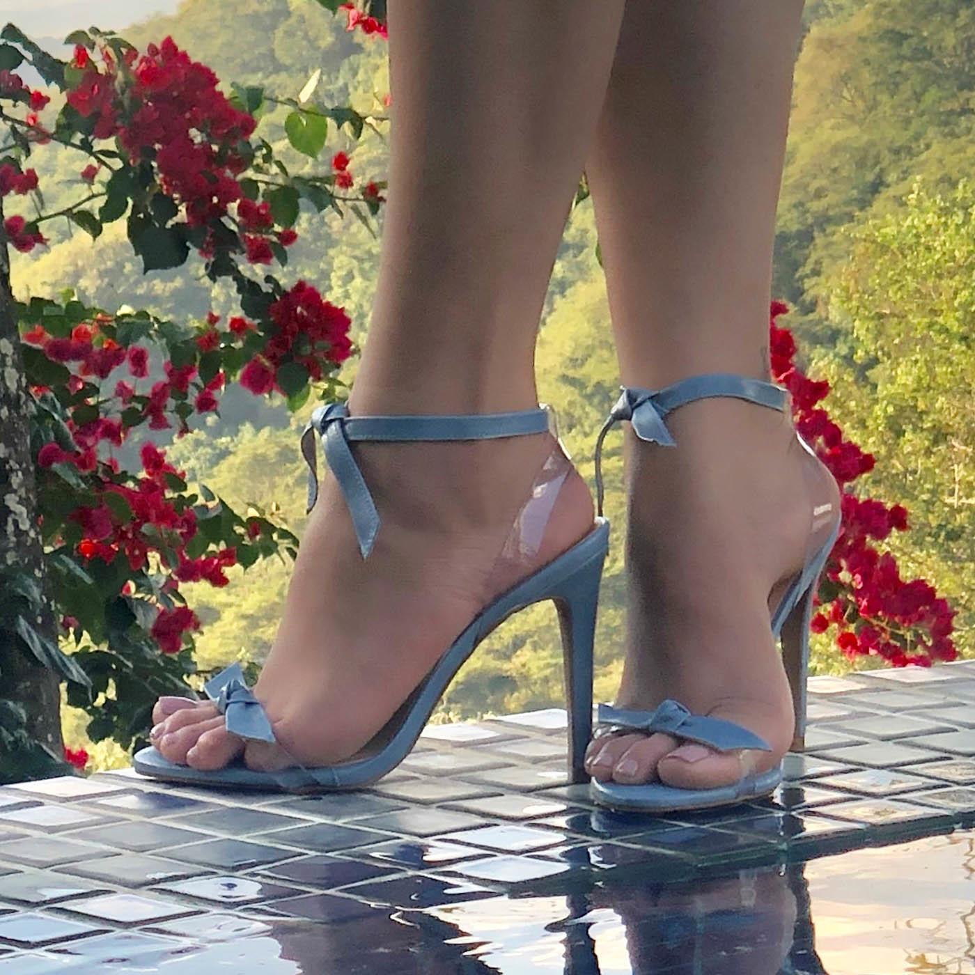 Sandália Salto Alto Lace Up Vinil