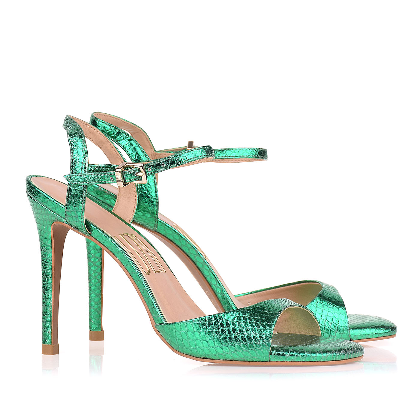 Sandália Salto Alto Metal Serpente Verde