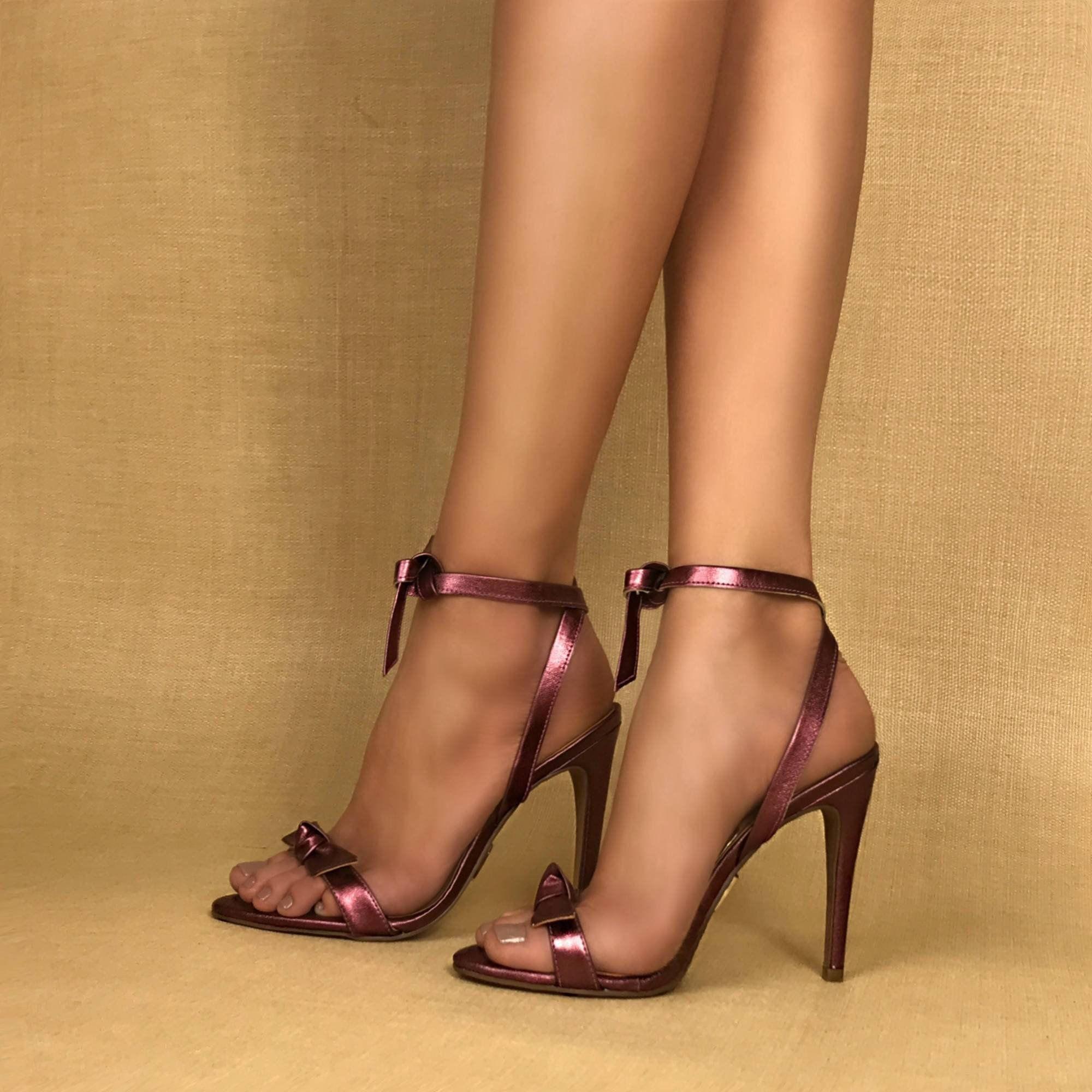 Sandália Salto Alto Metalic Rose
