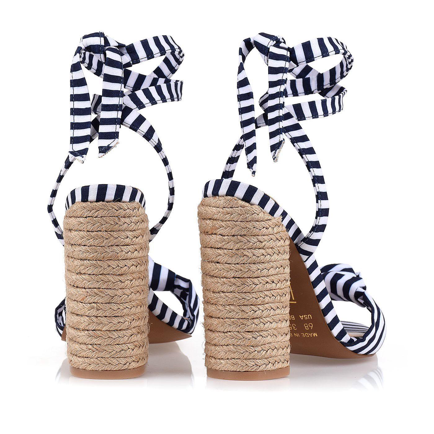 Sandália Salto Alto Mini Stripes Navy