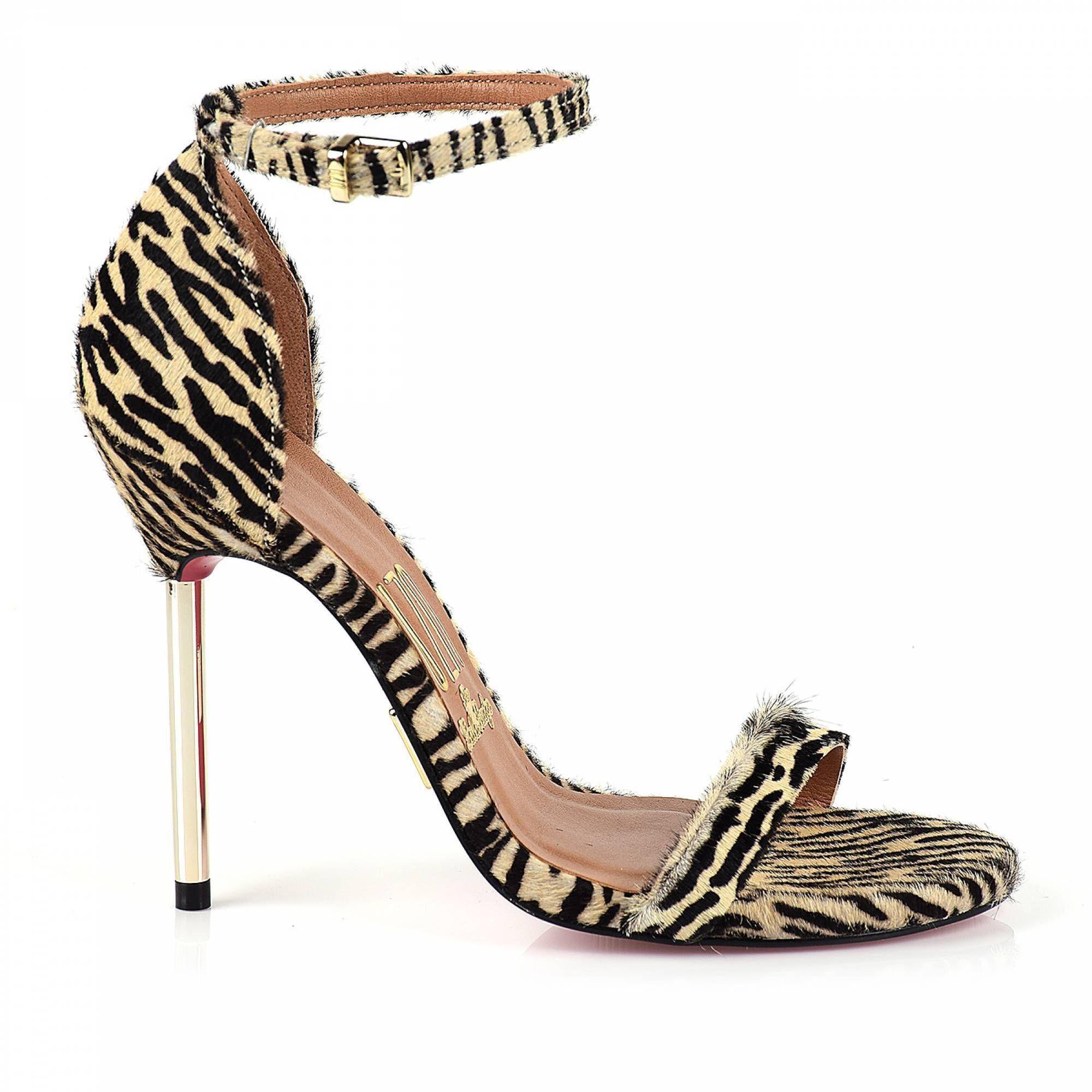 Sandália Salto Alto Mini Zebra