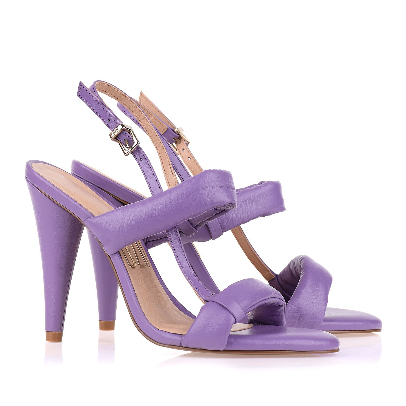 Sandália Salto Alto New Couro Lilac