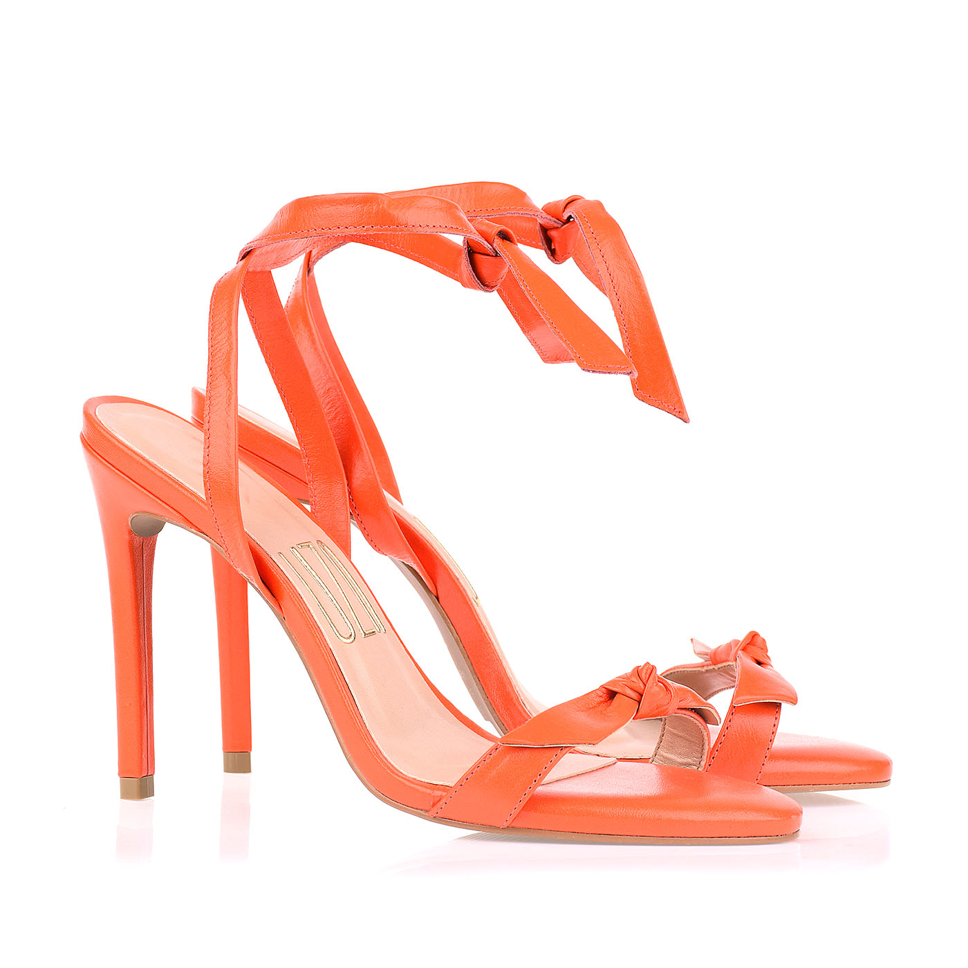 Sandália Salto Alto New Couro On Orange