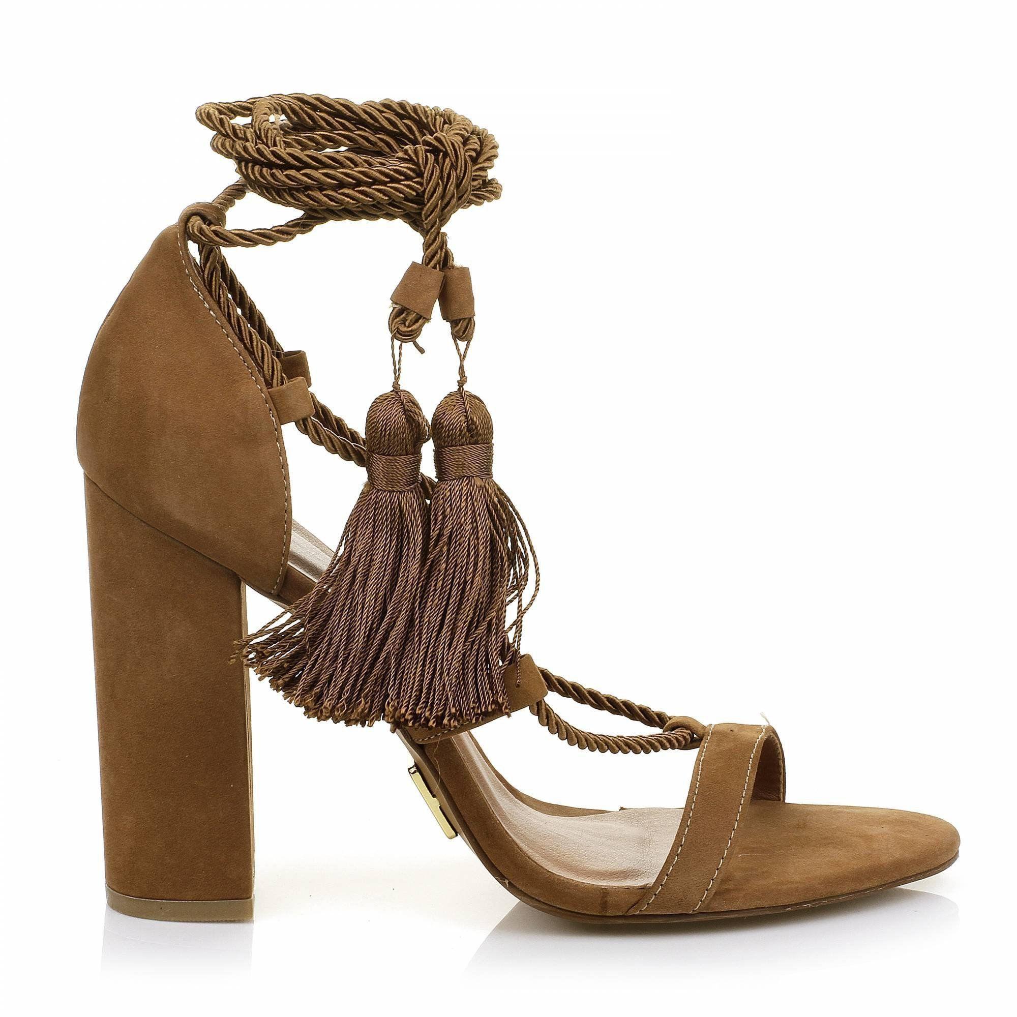 Sandália Salto Alto Nobuck Camel