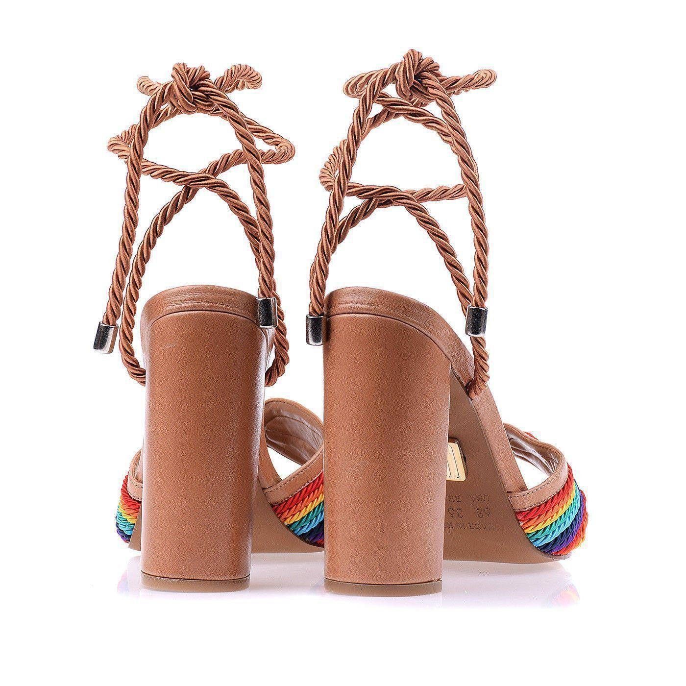 Sandália Salto Alto Couro Tan