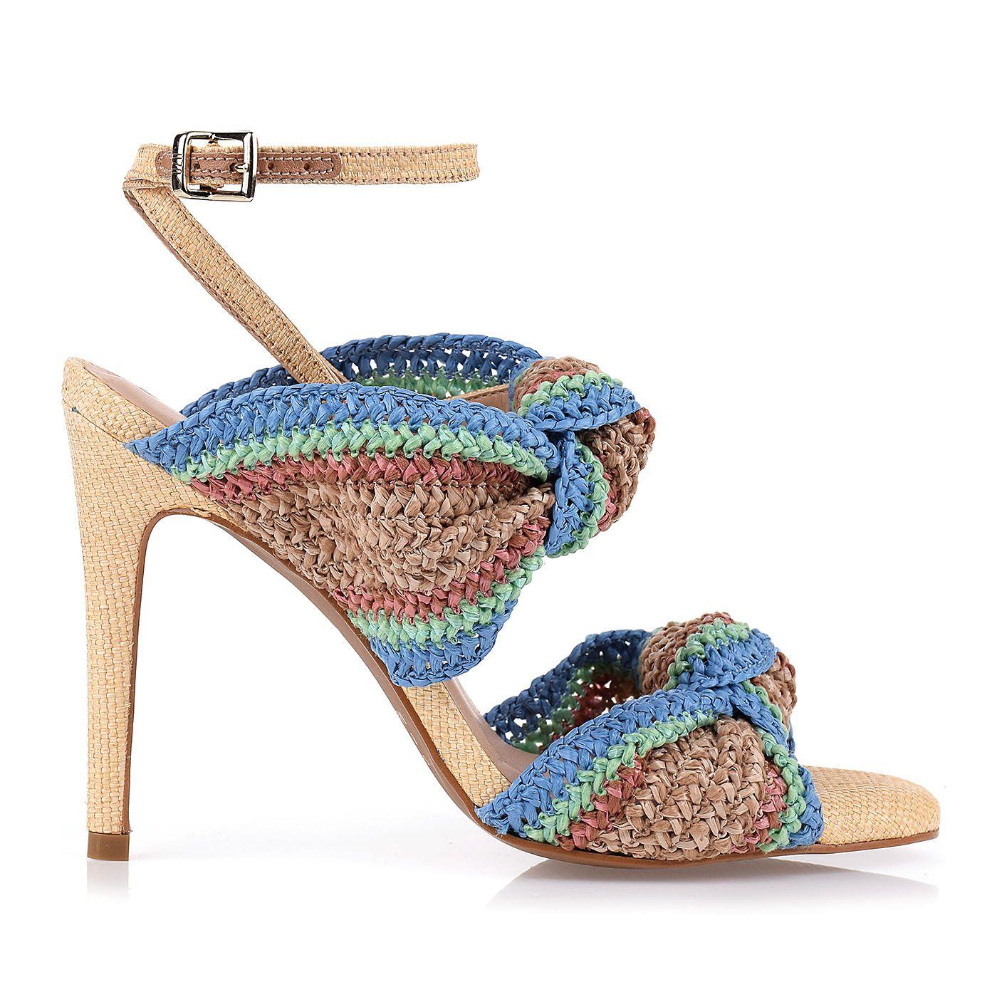 Sandália Salto Alto Raffia Crochet