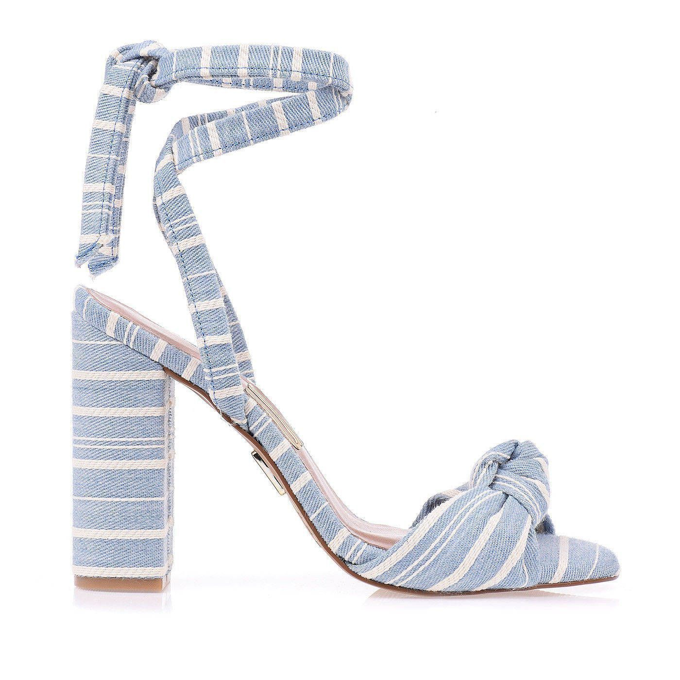 Sandália Salto Alto Sarja Strip Jeans