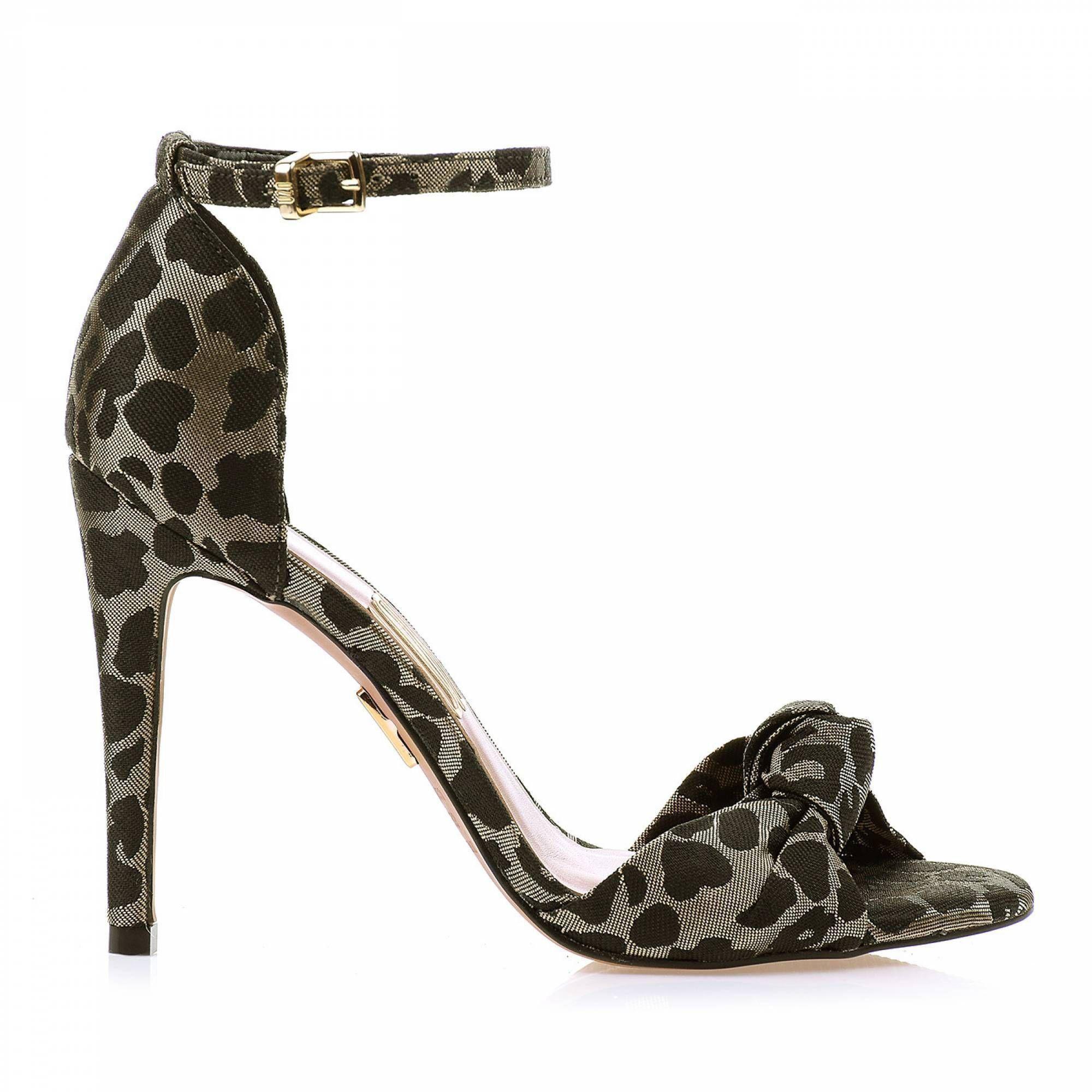 Sandália Salto Alto Shine Leopard