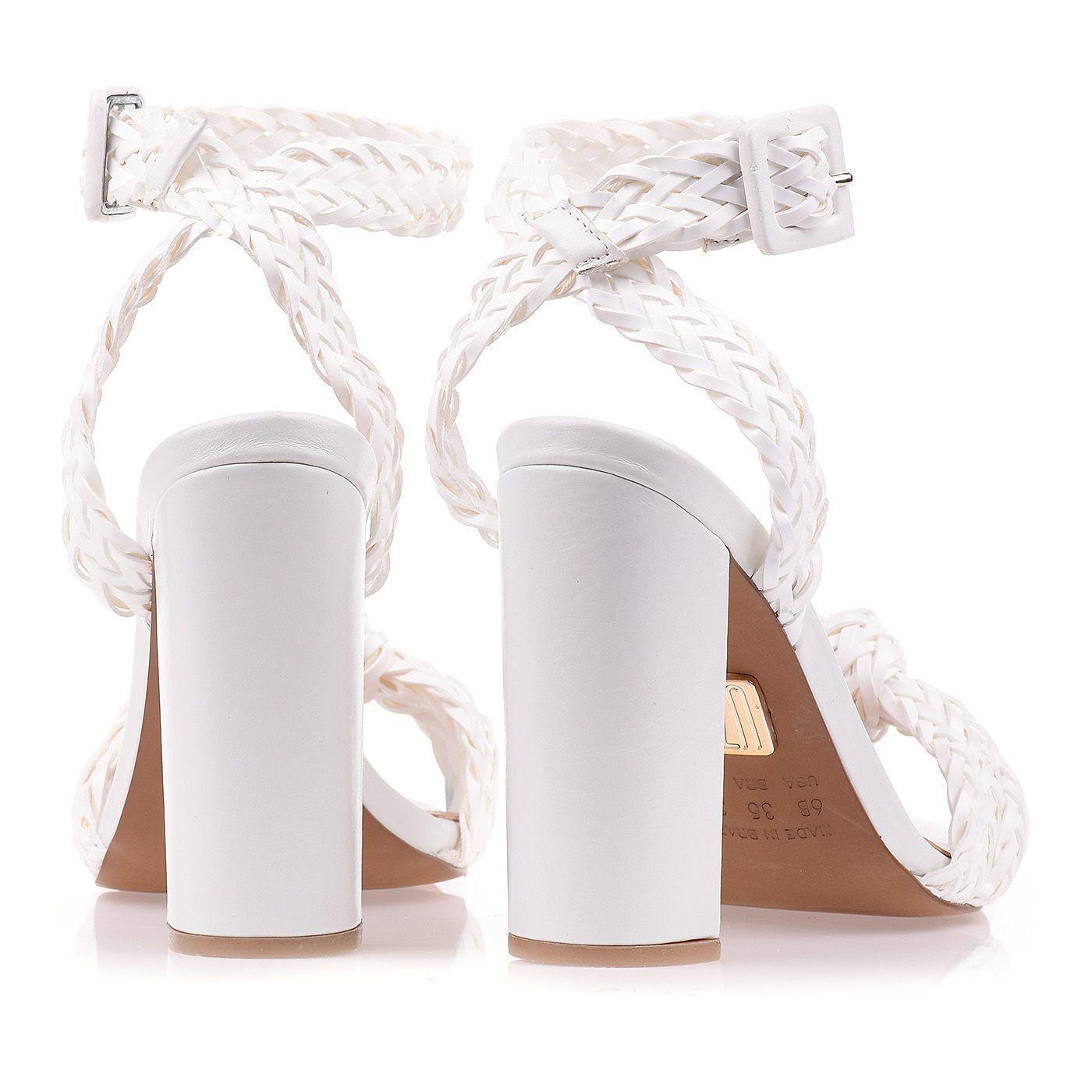 Sandália Salto Alto Trança Blanc