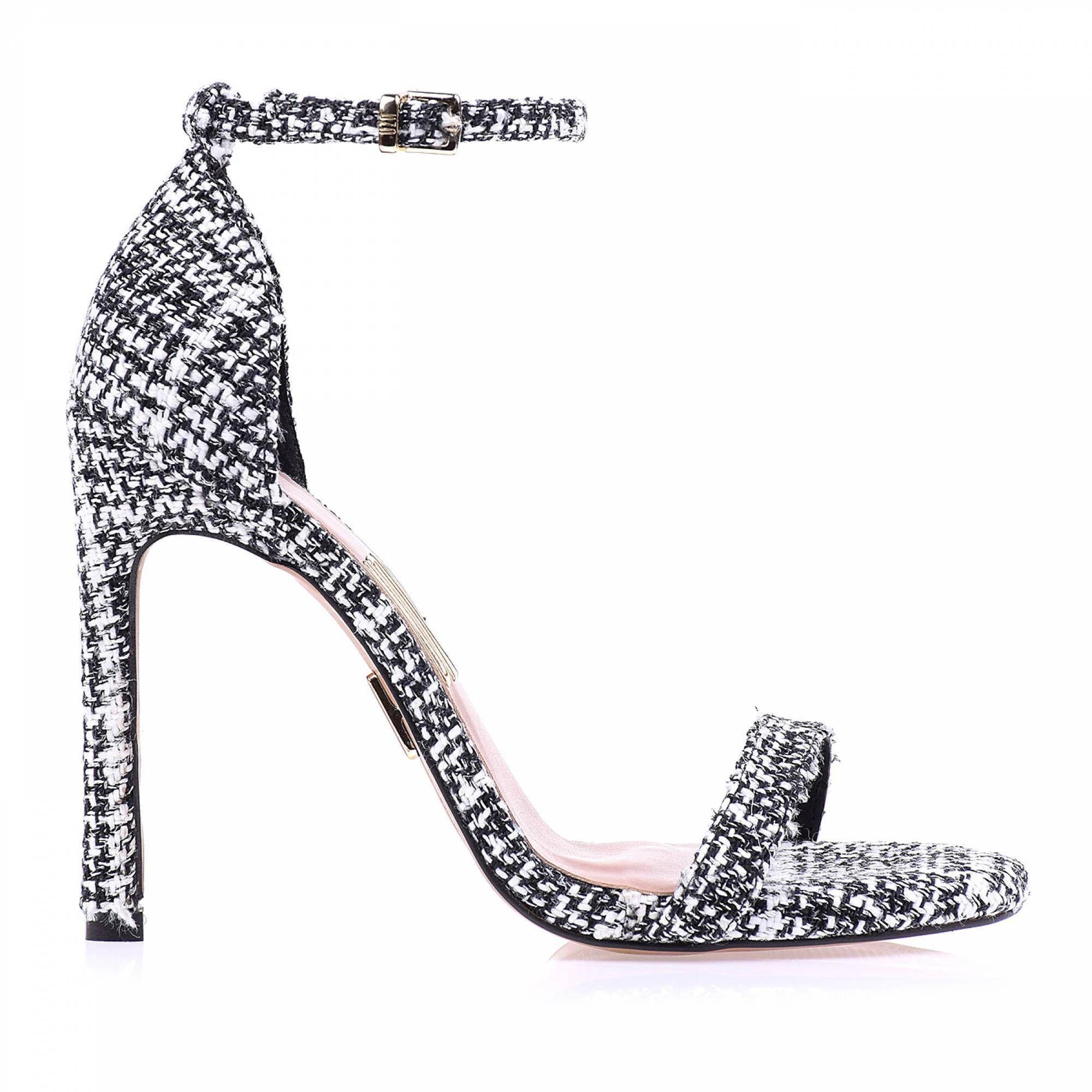 Sandália Salto Alto Tweed Silver