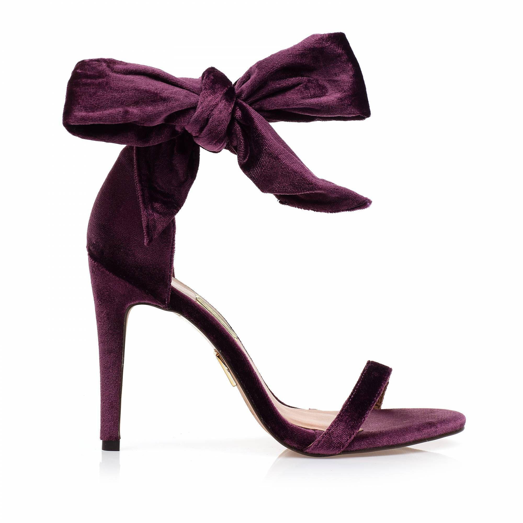 Sandália Salto Alto Velours Purple