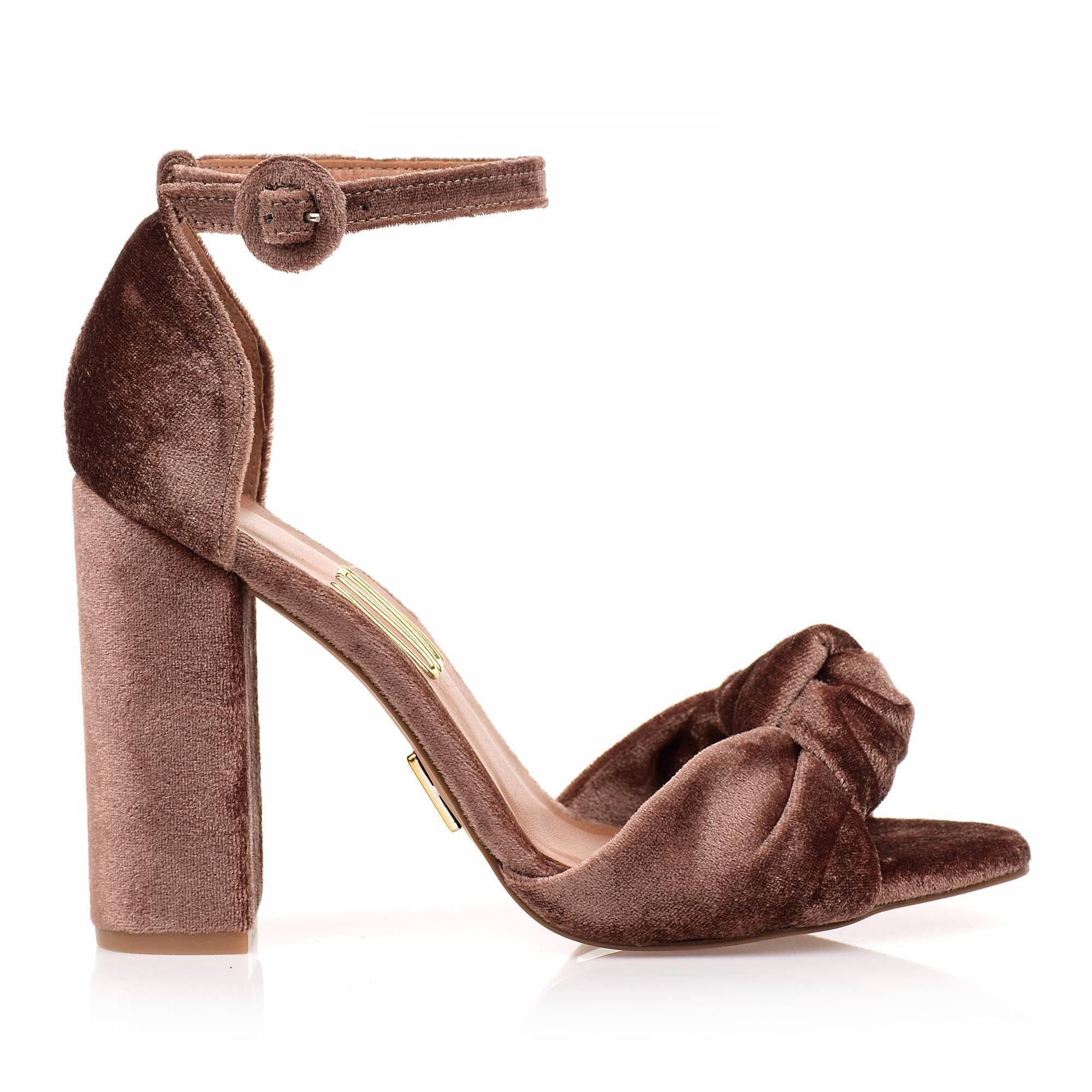 Sandália Salto Alto Veludo Caramel