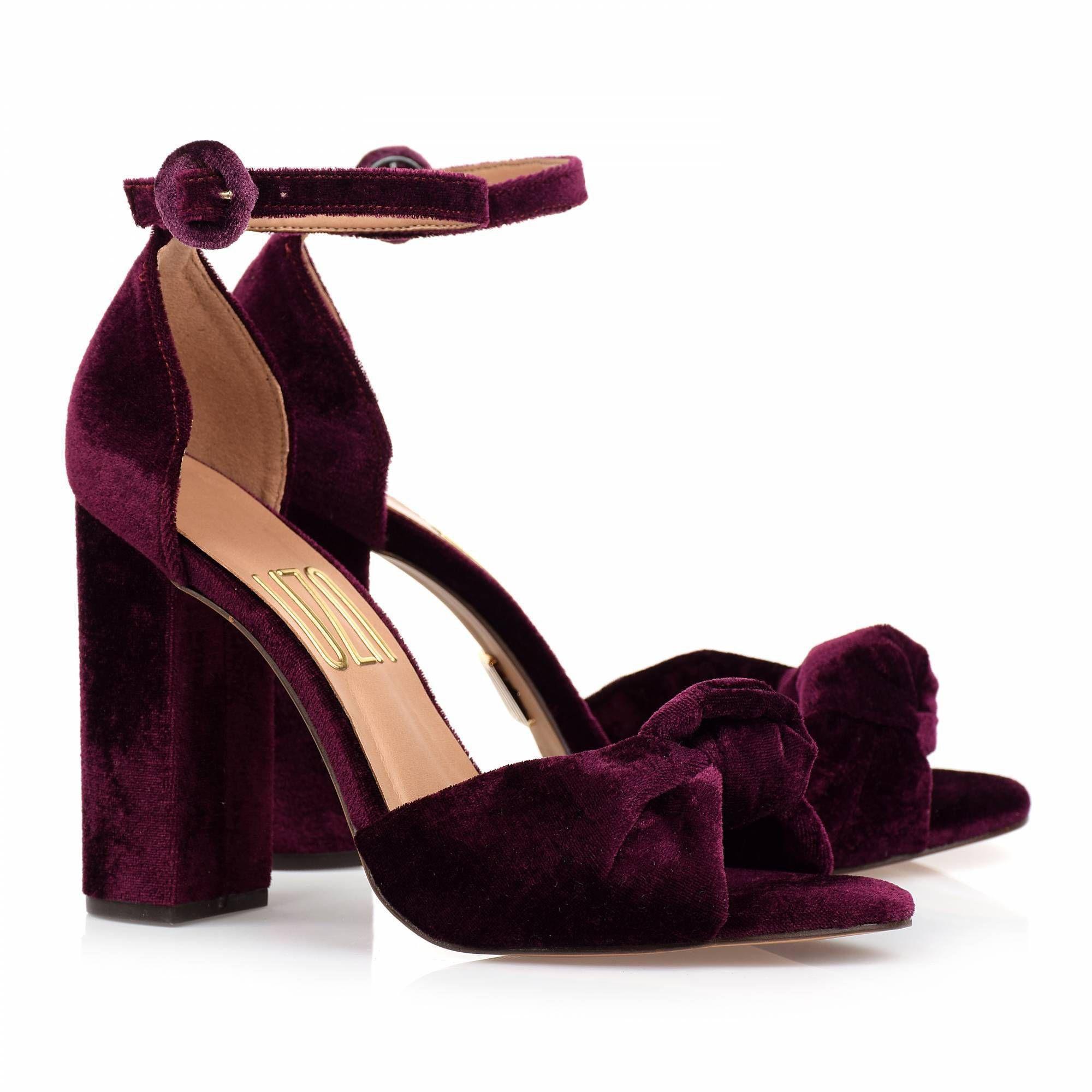 Sandália Salto Alto Veludo Grape