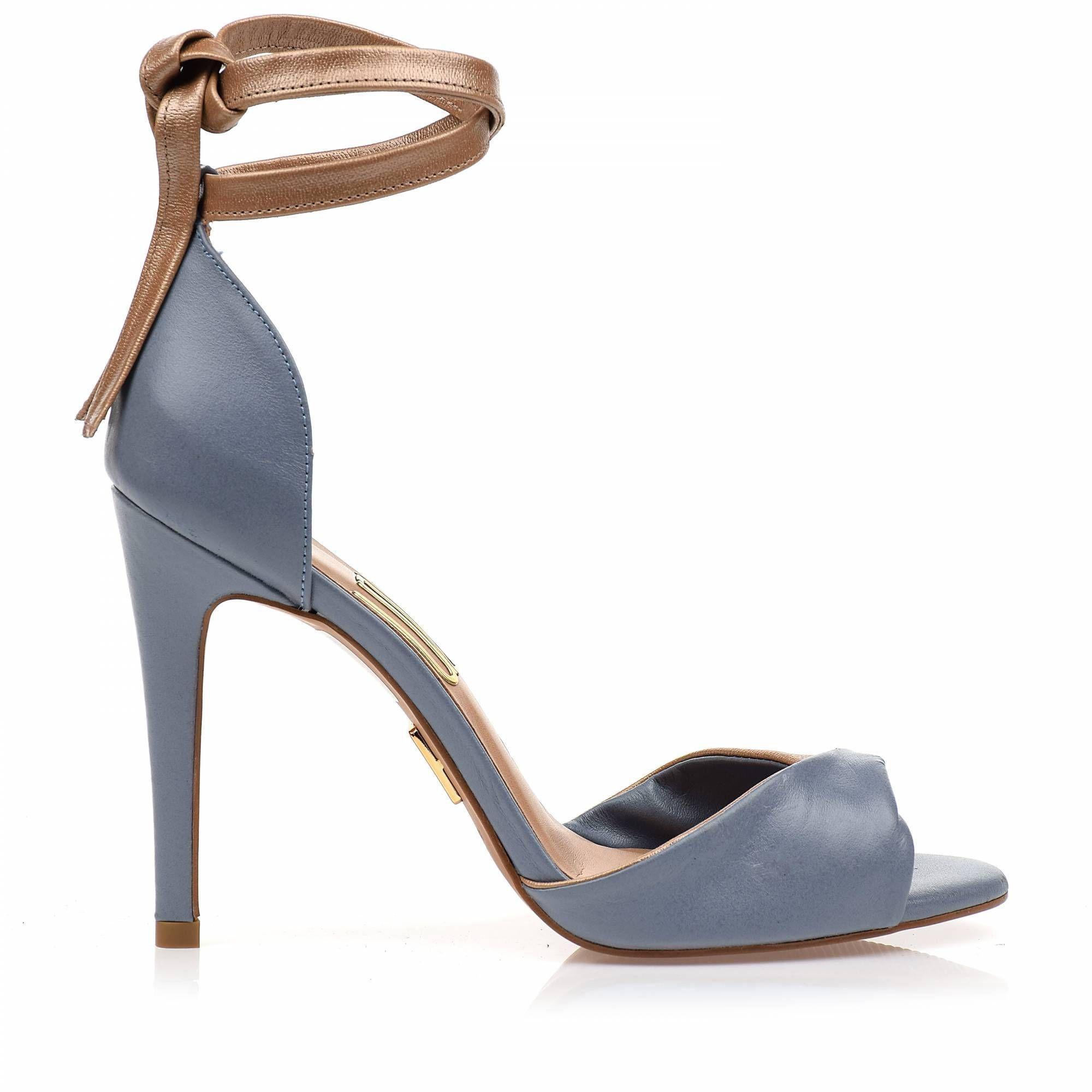 Sandália Salto Alto Veneto Couro Bleu