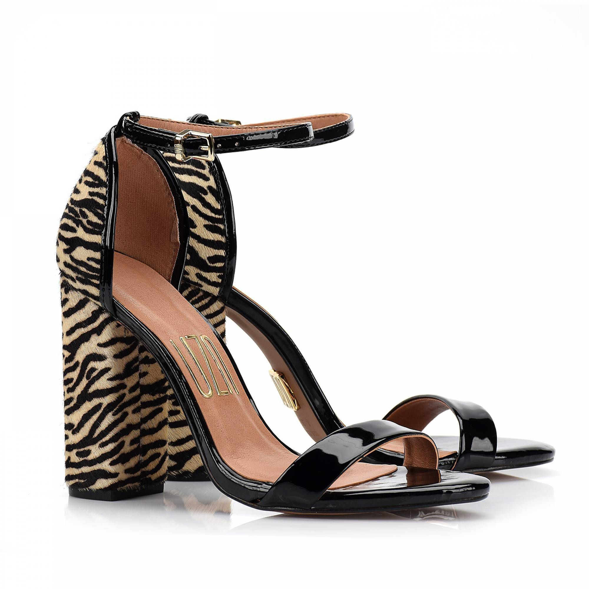 Sandália Salto Alto Verniz Preto Zebra