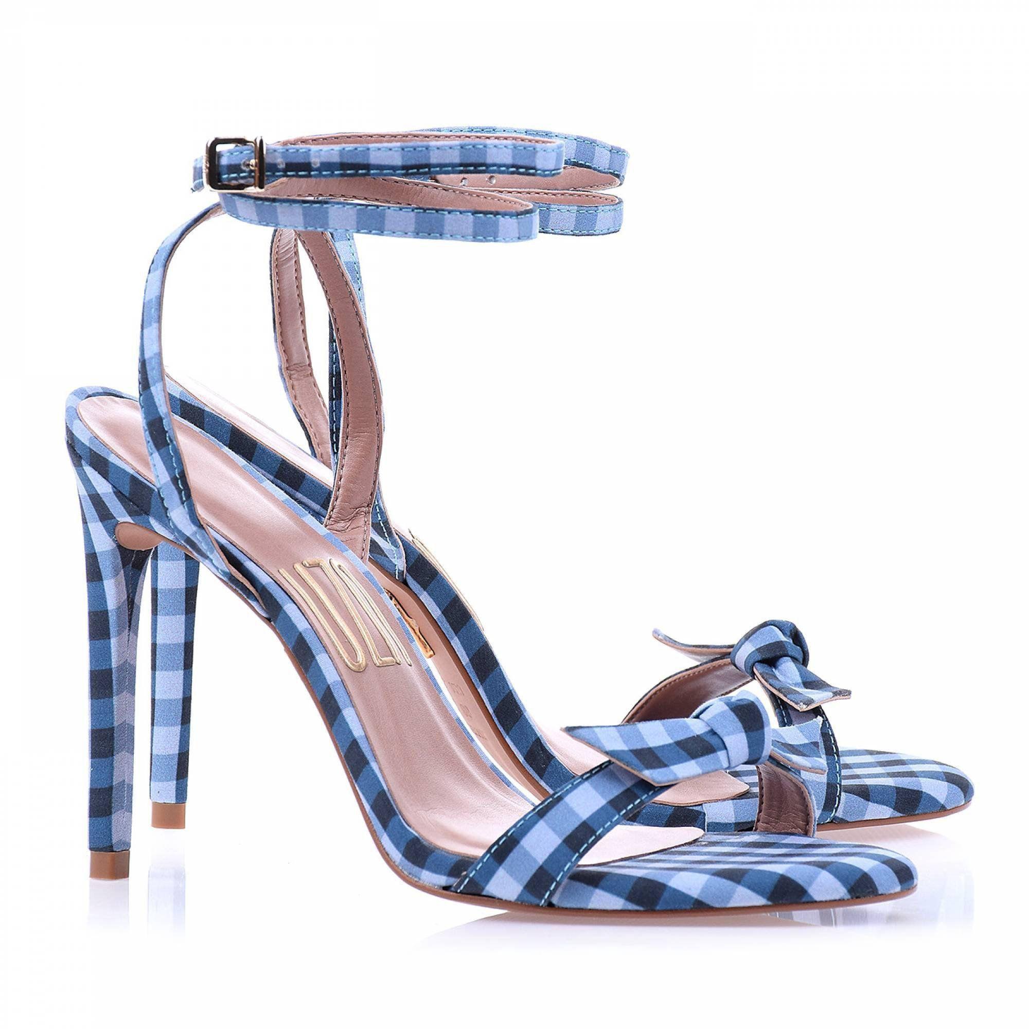 Sandália Salto Alto Vichy Blue