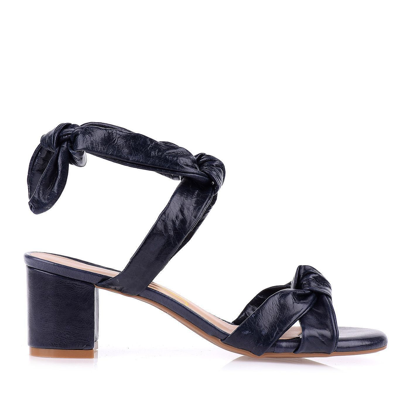 Sandália Salto Baixo Knots Marinho