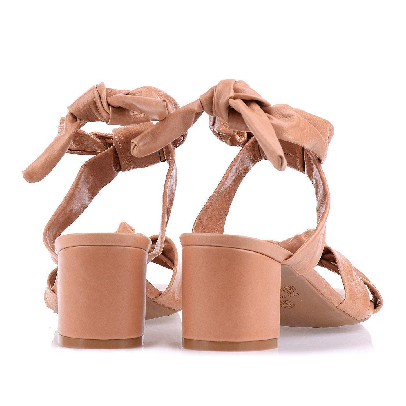 Sandália Salto Baixo Knots Tan